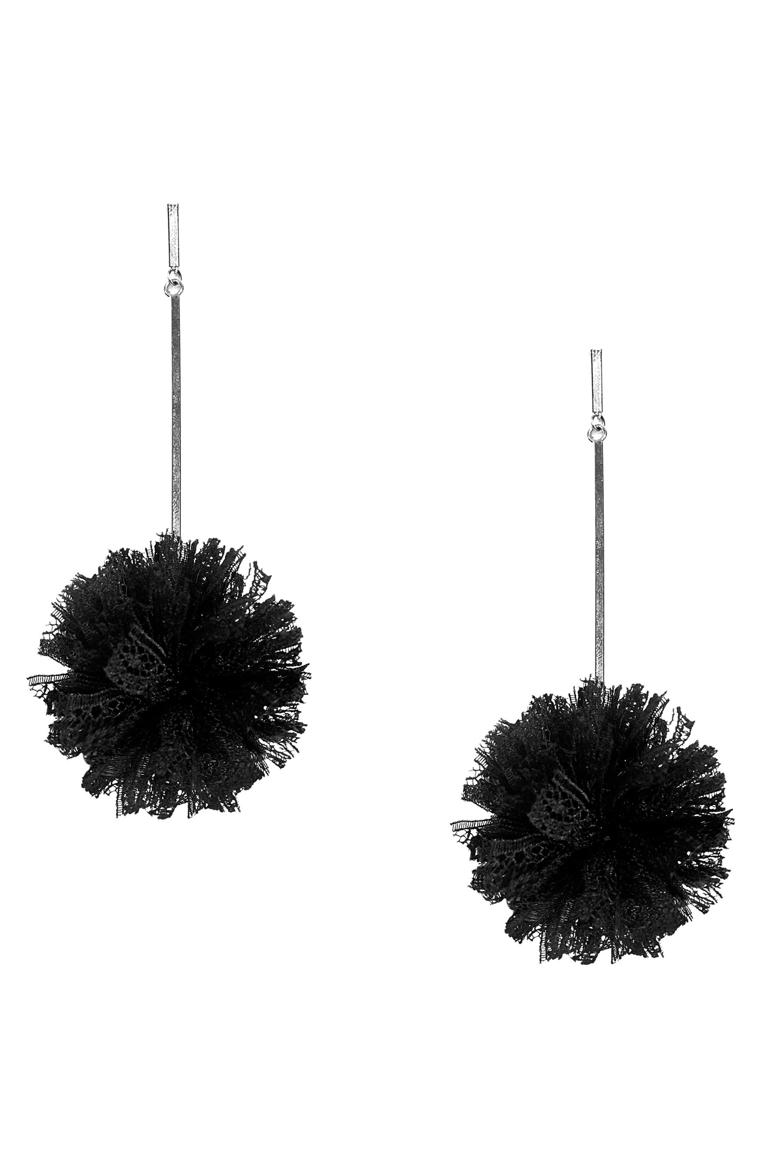 Lace Pom Pom Earrings,                             Main thumbnail 1, color,                             001