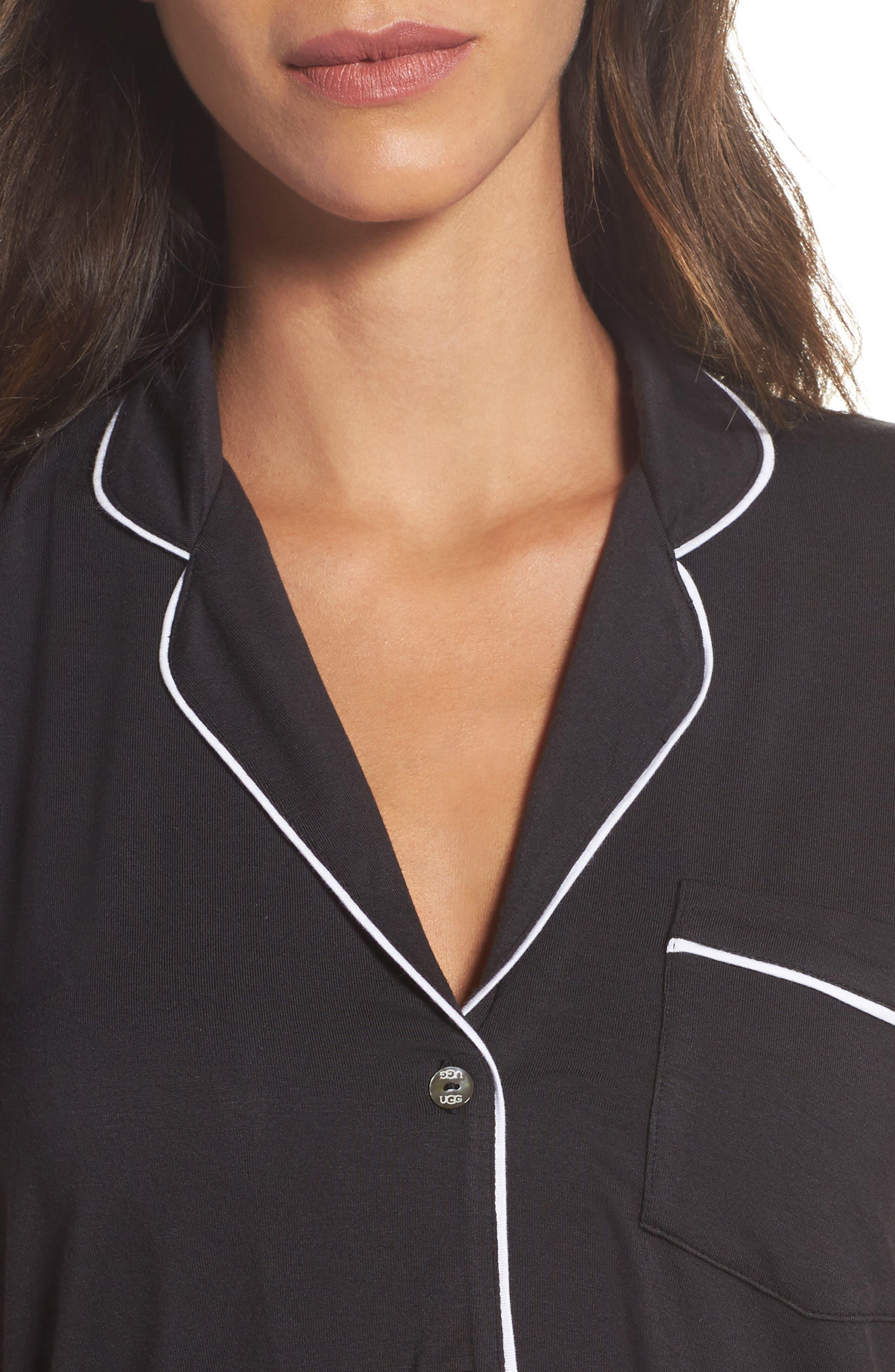 Amelia Short Pajamas,                             Alternate thumbnail 4, color,                             BLACK