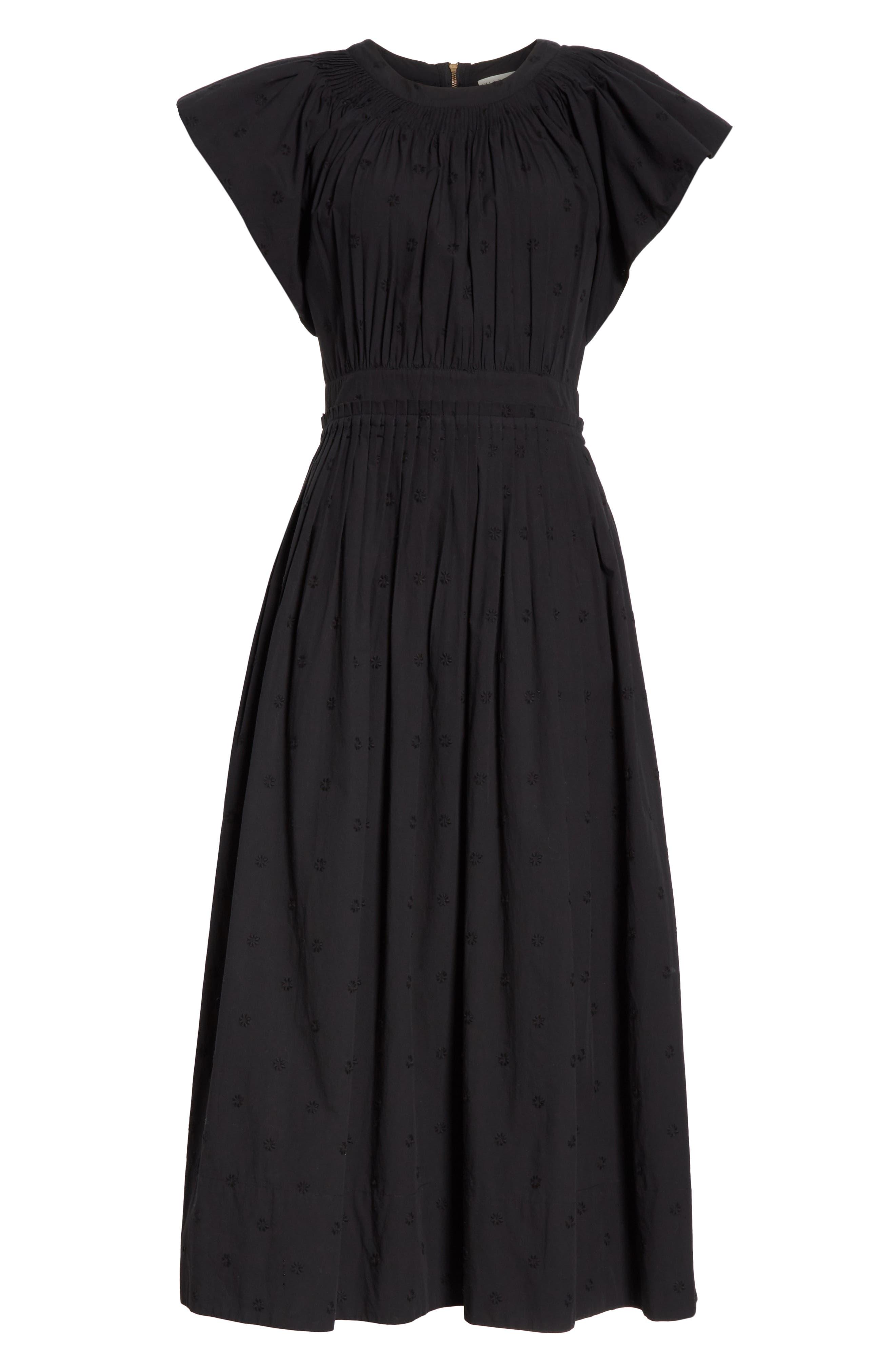 Lottie Embroidered Midi Dress,                             Alternate thumbnail 7, color,                             JET