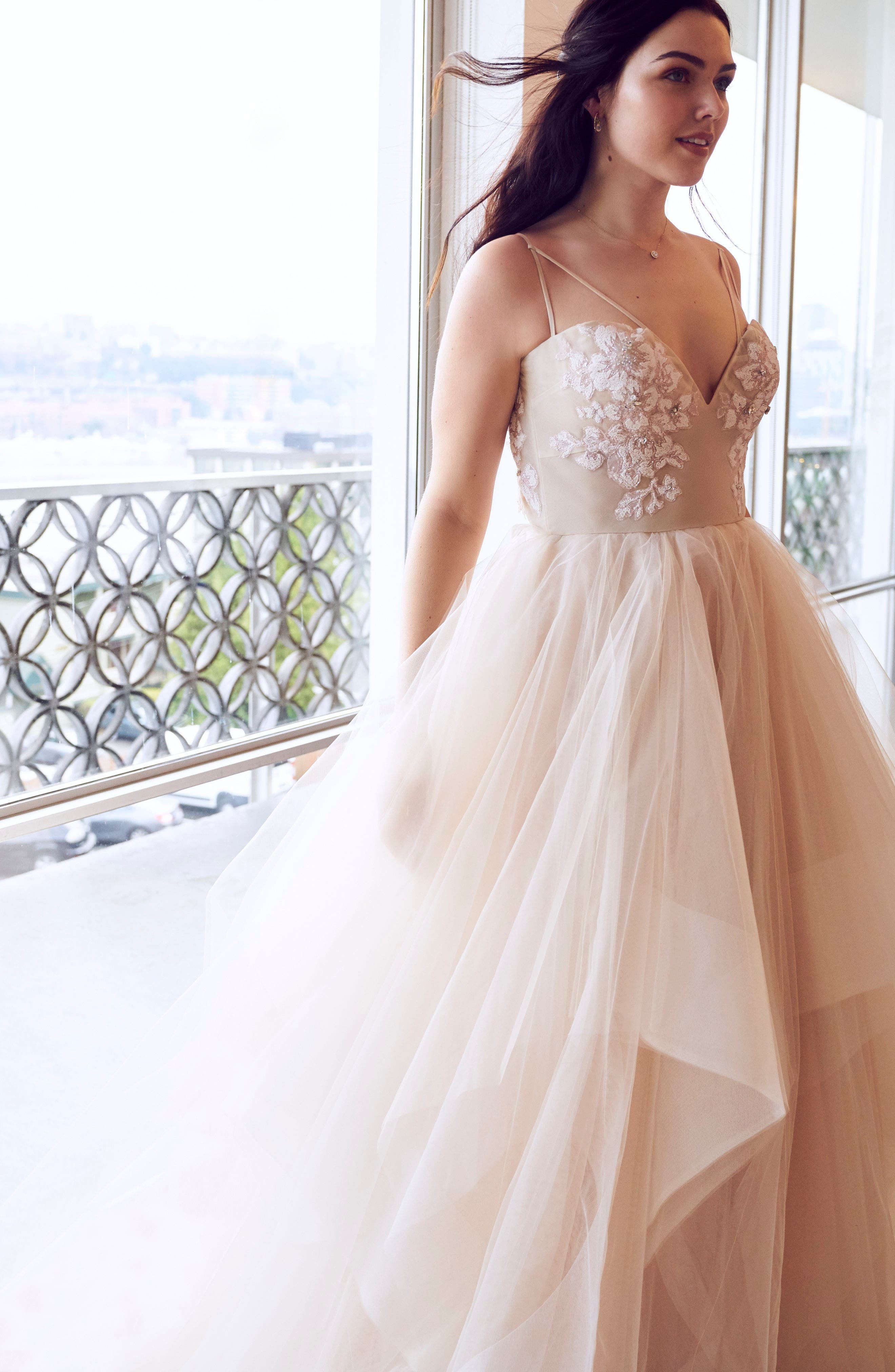 Keagan Embellished Tulle Ballgown,                             Alternate thumbnail 2, color,                             SWEET HONEY BEE