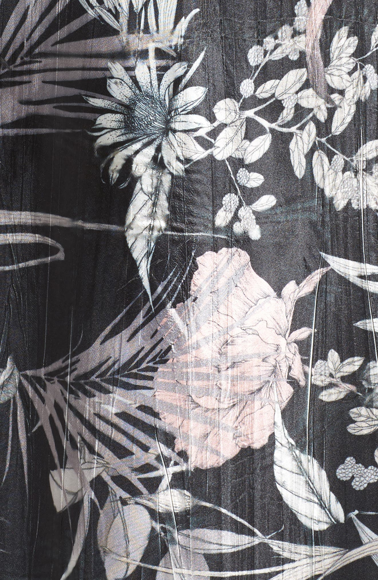 Floral Print Charmeuse Midi Dress,                             Alternate thumbnail 5, color,
