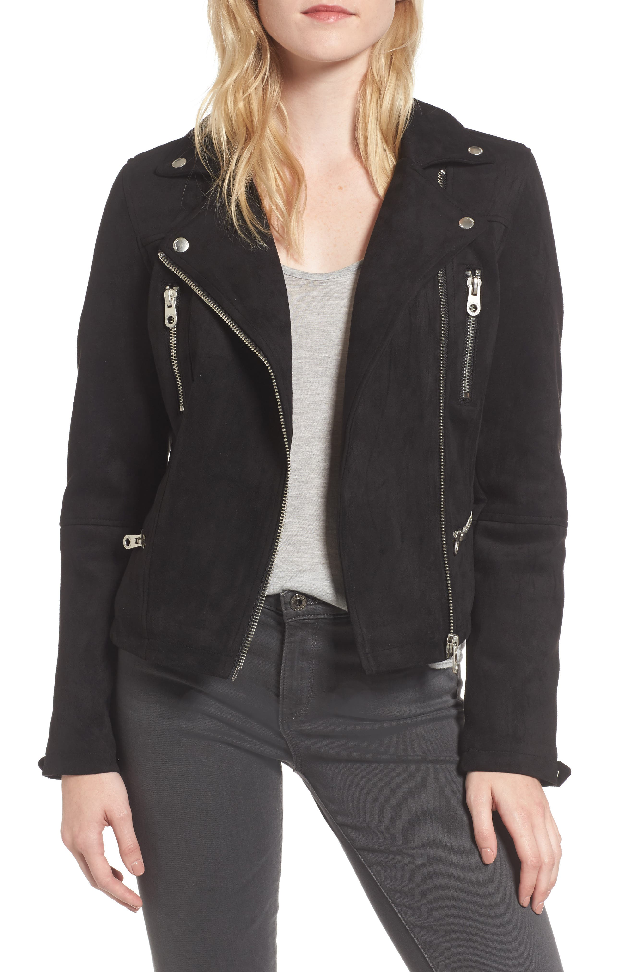 Faux Suede Biker Jacket,                         Main,                         color, 001