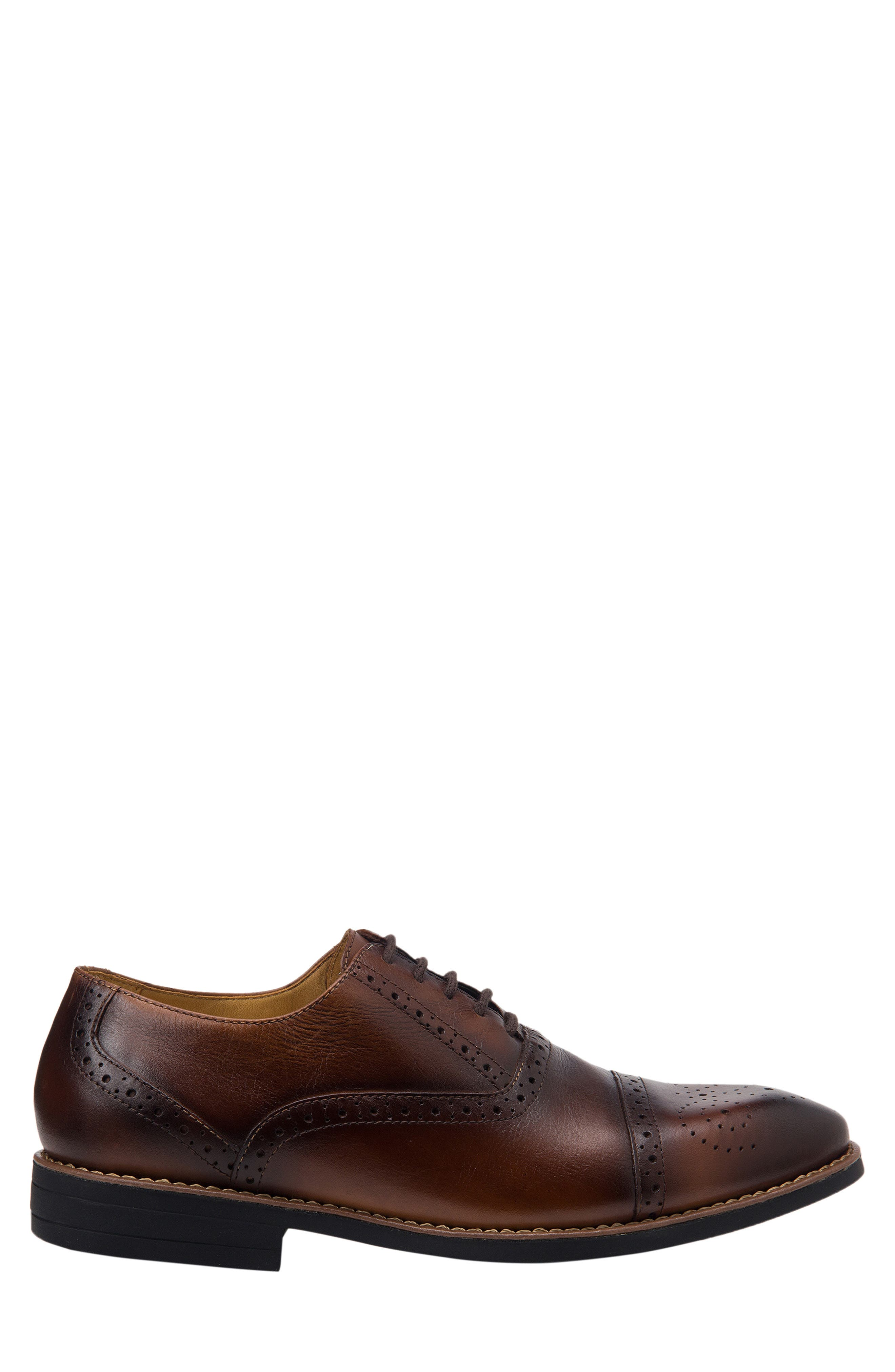 SANDRO MOSCOLONI,                             Murali Cap Toe Oxford,                             Alternate thumbnail 3, color,                             BROWN LEATHER
