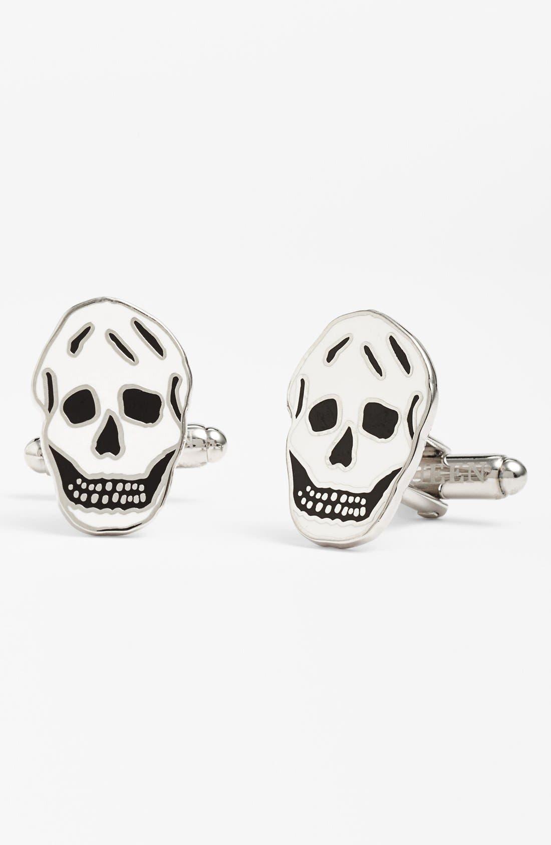 Brass Skull Cuff Links,                             Main thumbnail 1, color,                             BLACK/WHITE