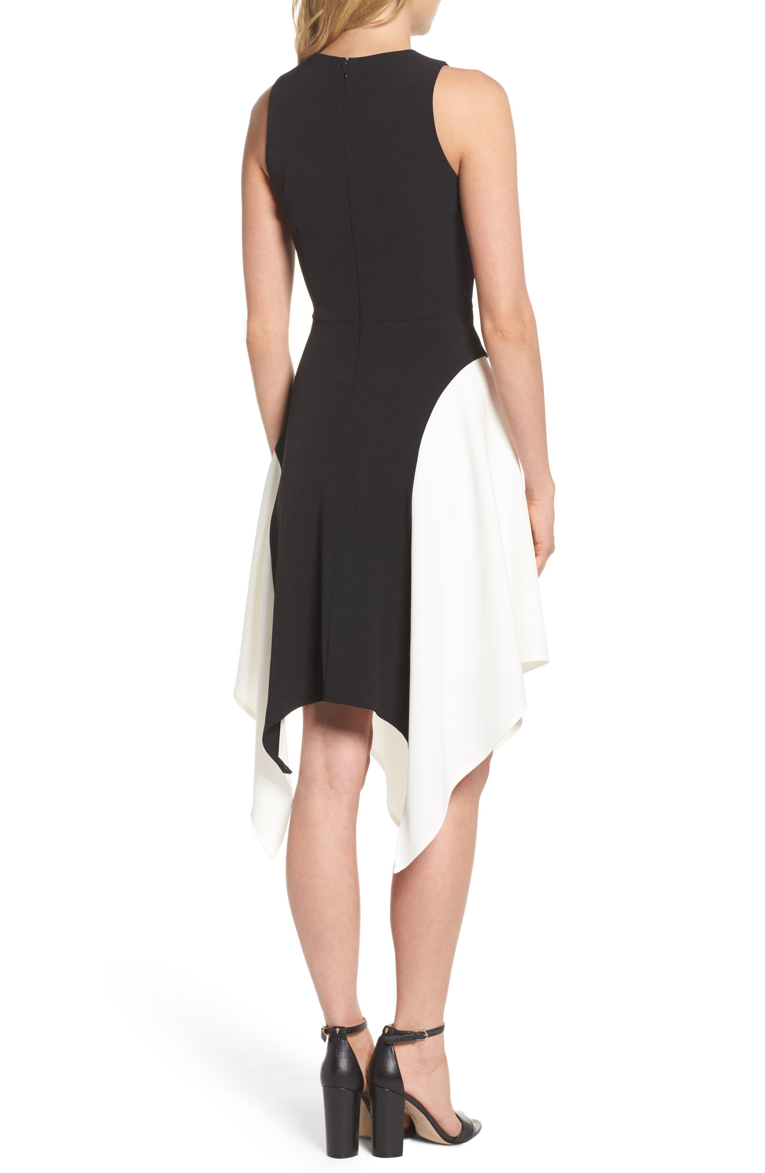 Colorblock Crepe Midi Dress,                             Alternate thumbnail 2, color,                             012