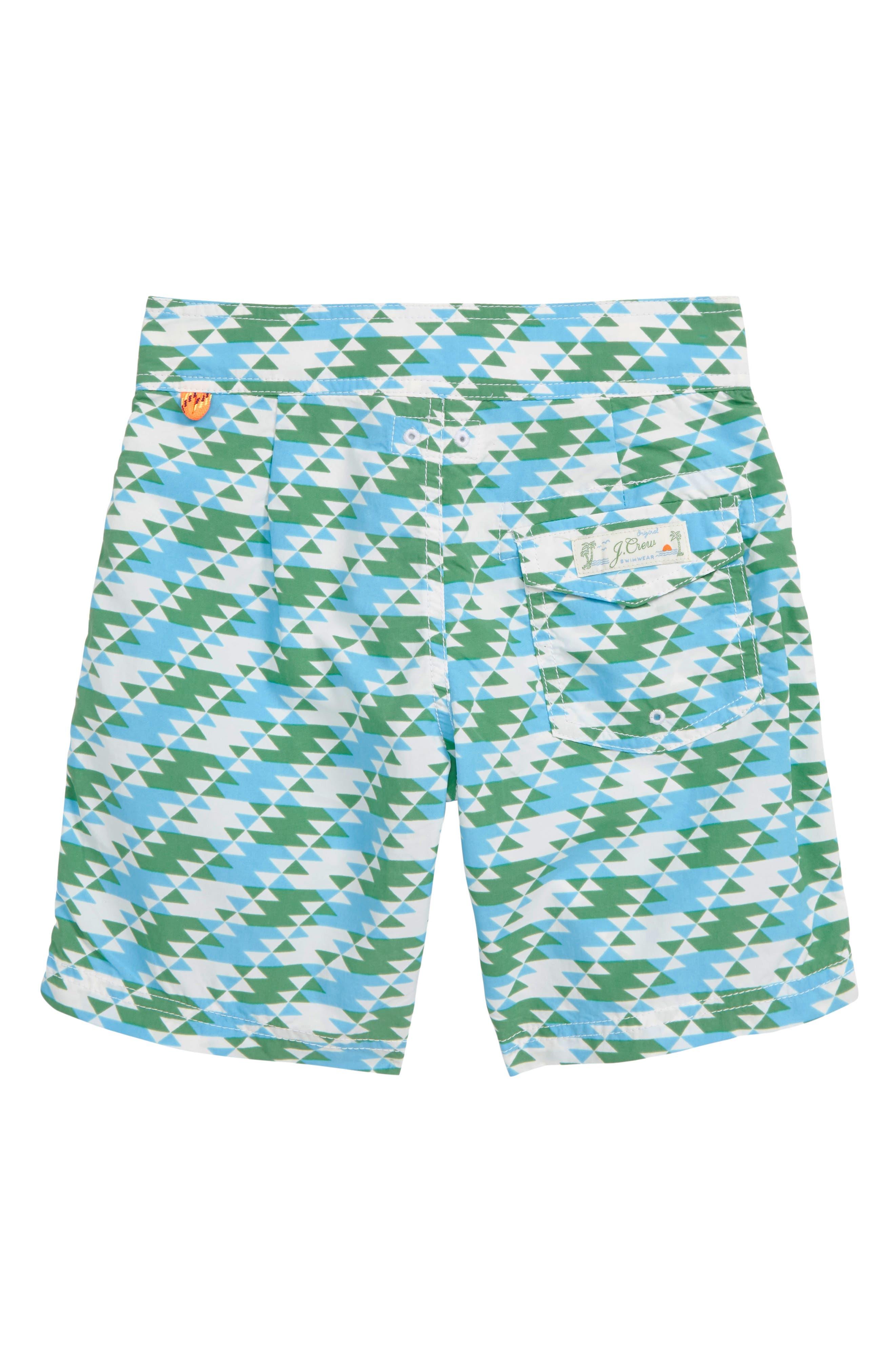 Geo Print Board Shorts,                             Alternate thumbnail 2, color,                             IVORY GREEN TEAL