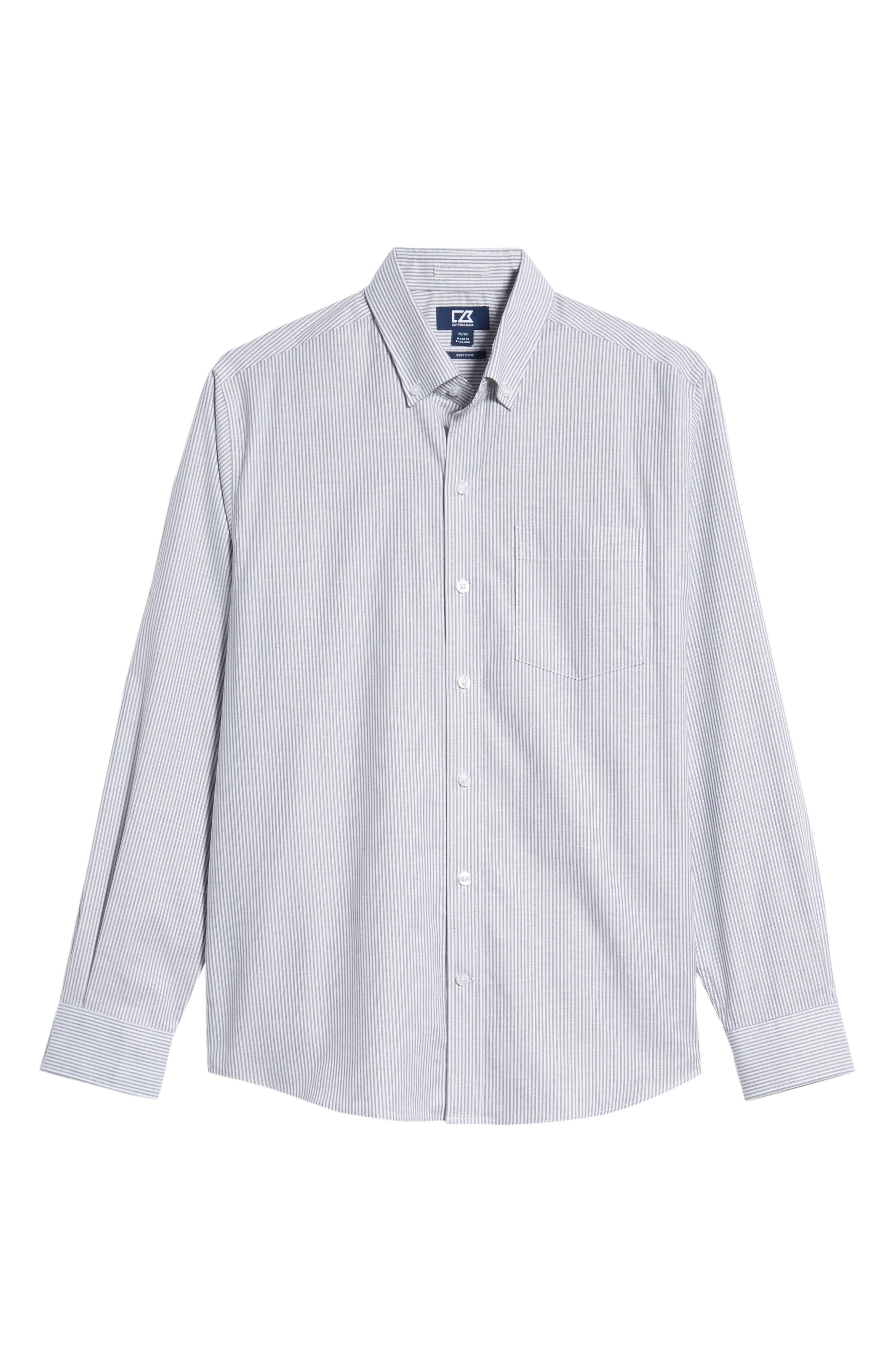 Regular Fit Stripe Stretch Oxford Shirt,                             Alternate thumbnail 5, color,                             CHARCOAL