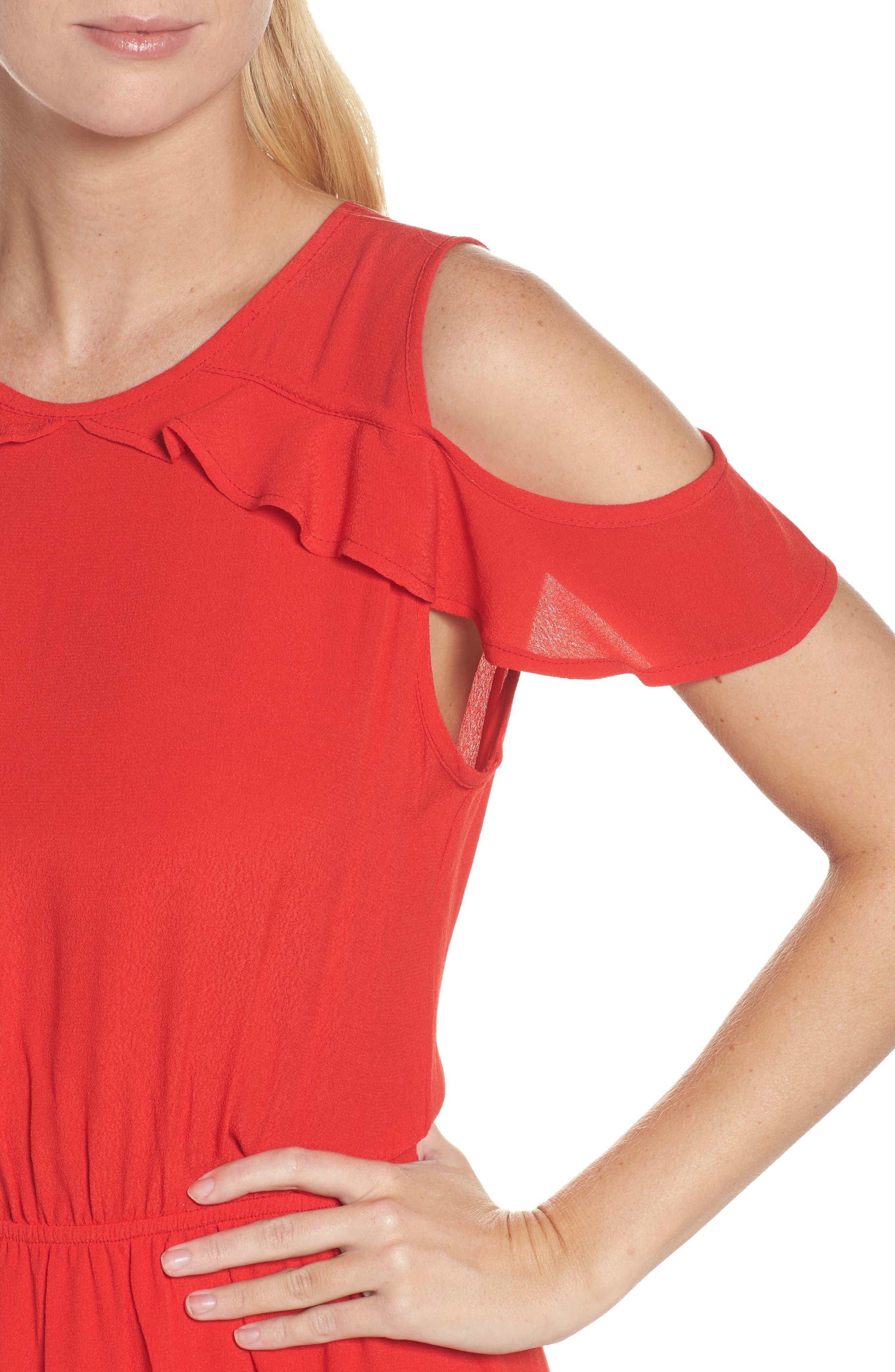 Cold Shoulder Midi Dress,                             Alternate thumbnail 4, color,                             600