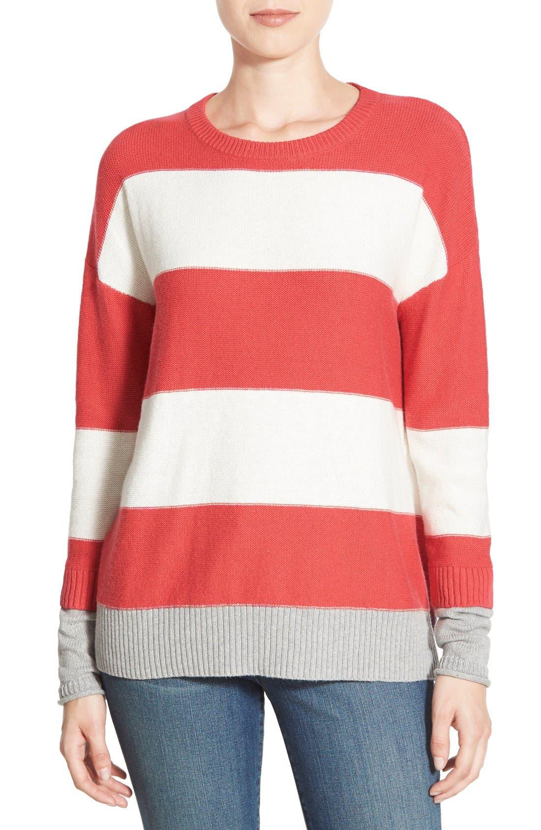 Contrast Cuff Crewneck Sweater,                             Main thumbnail 8, color,