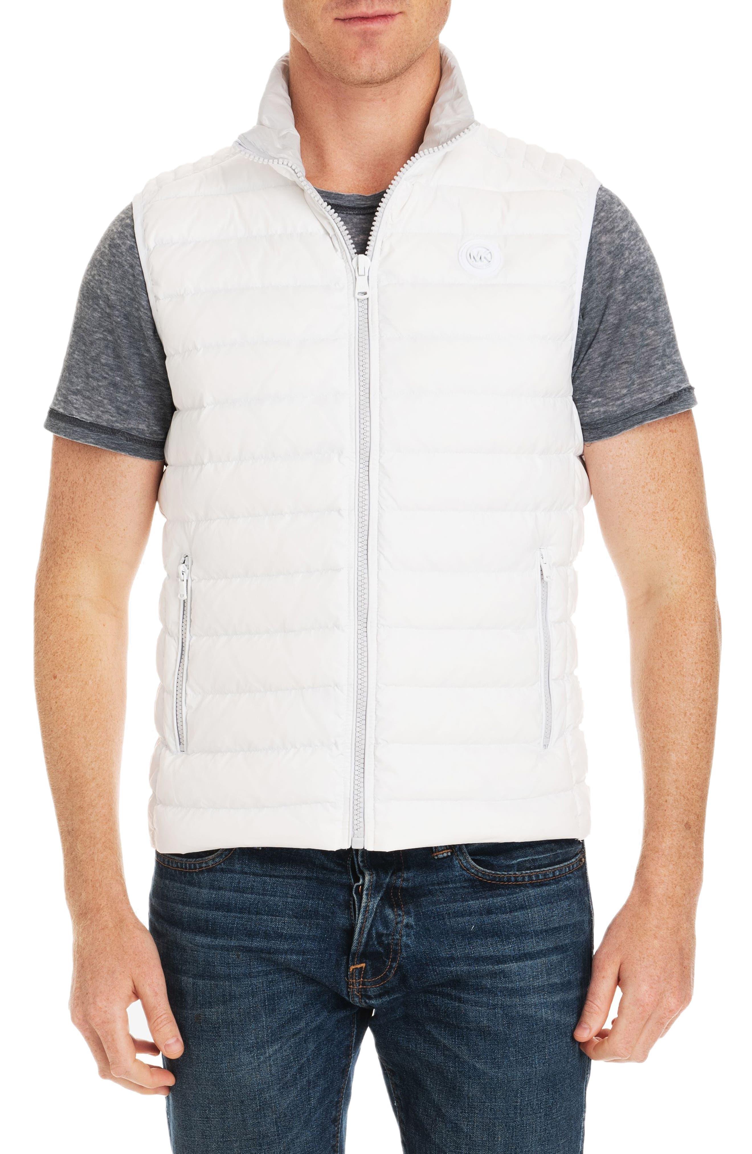Michael Kors Slim Fit Packable Down Vest, White (Online Only)