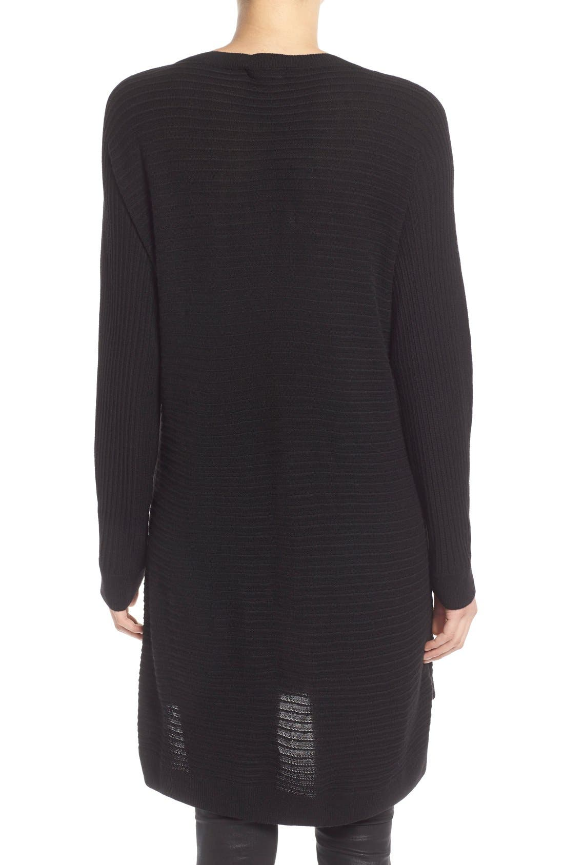 Side Zip Tunic Sweater,                             Alternate thumbnail 4, color,                             001