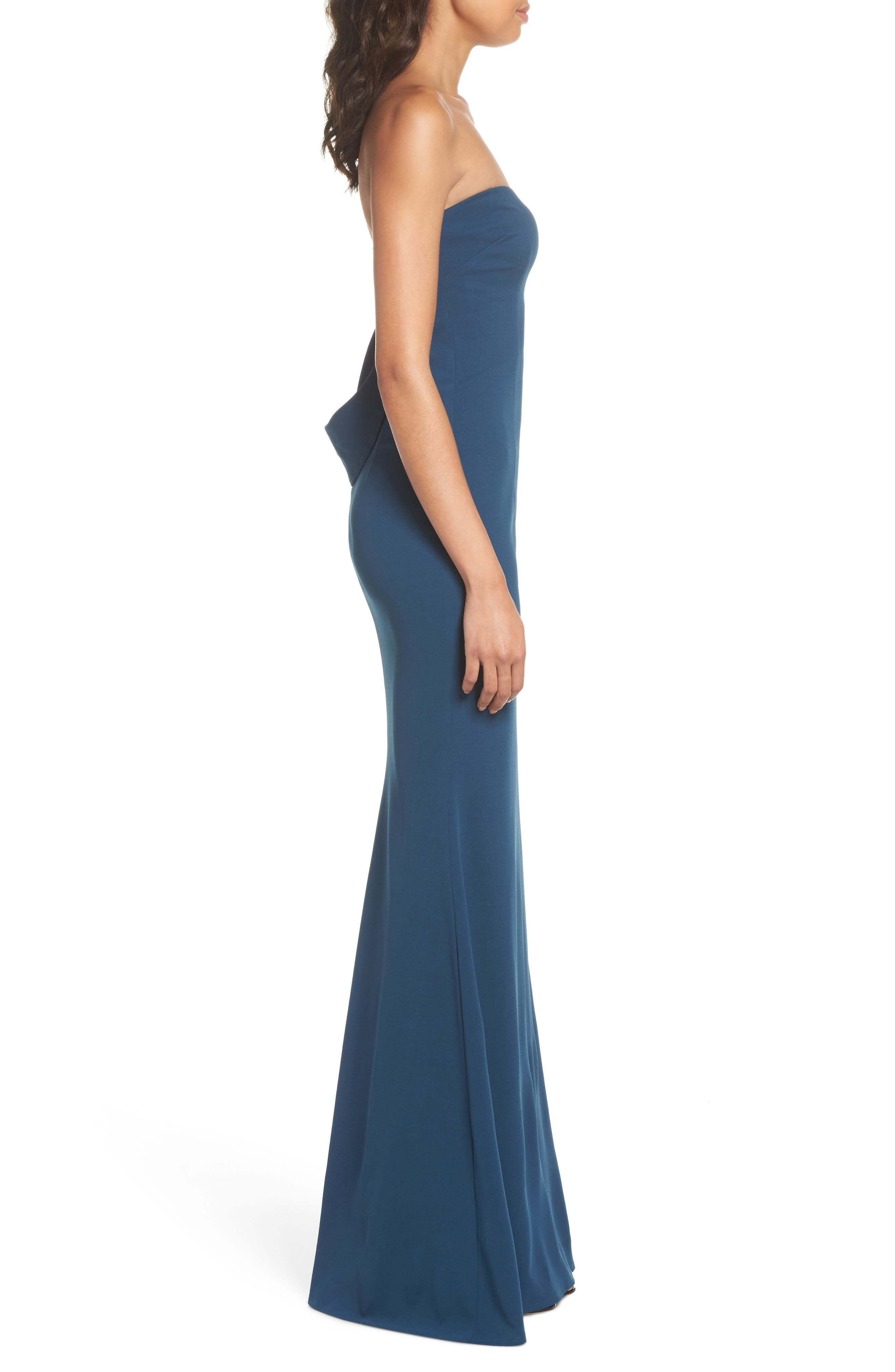 Mary Kate Strapless Cutout Back Gown,                             Alternate thumbnail 3, color,                             TEAL