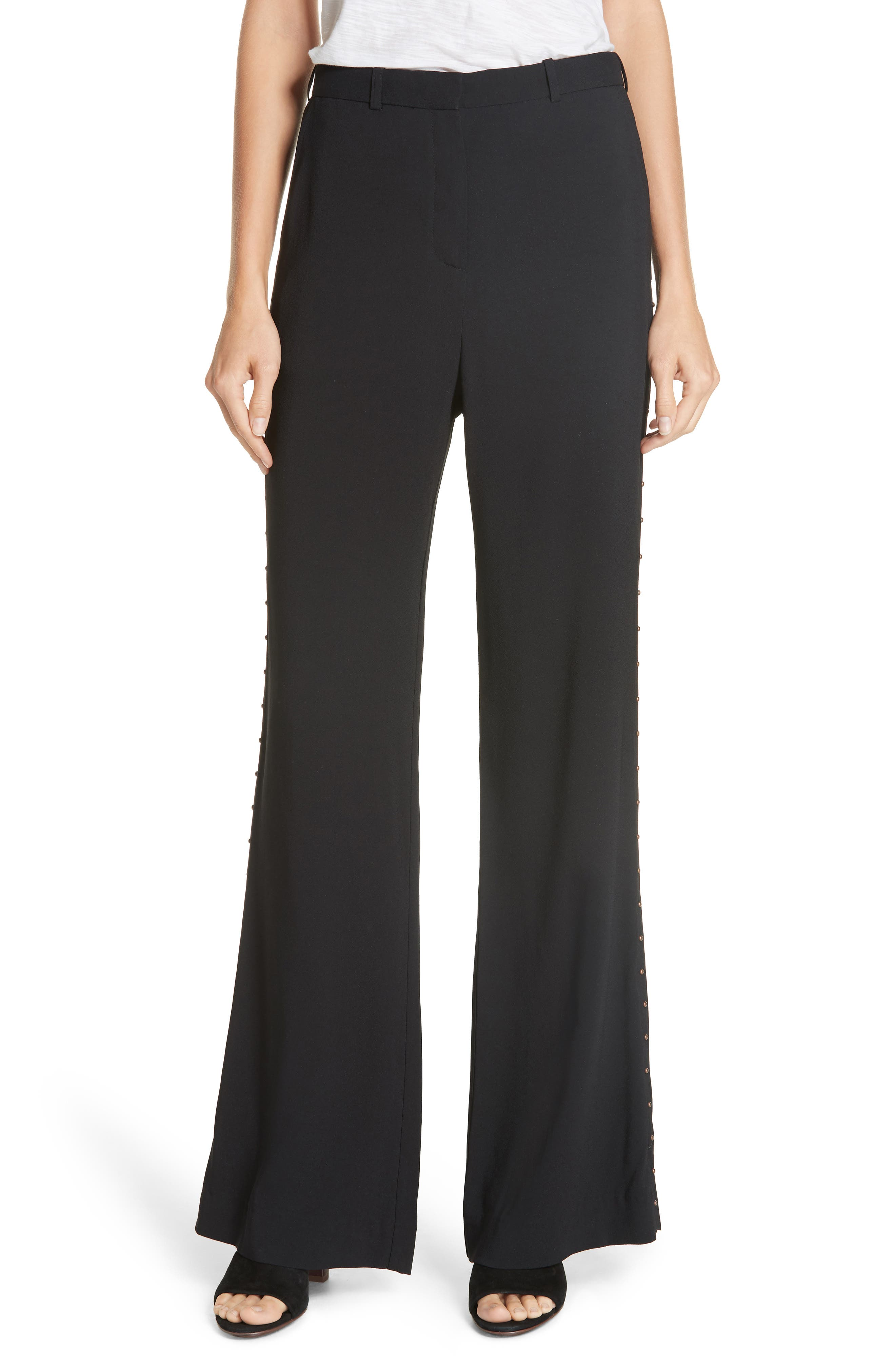 Studded Wide Leg Trousers, Main, color, BLACK