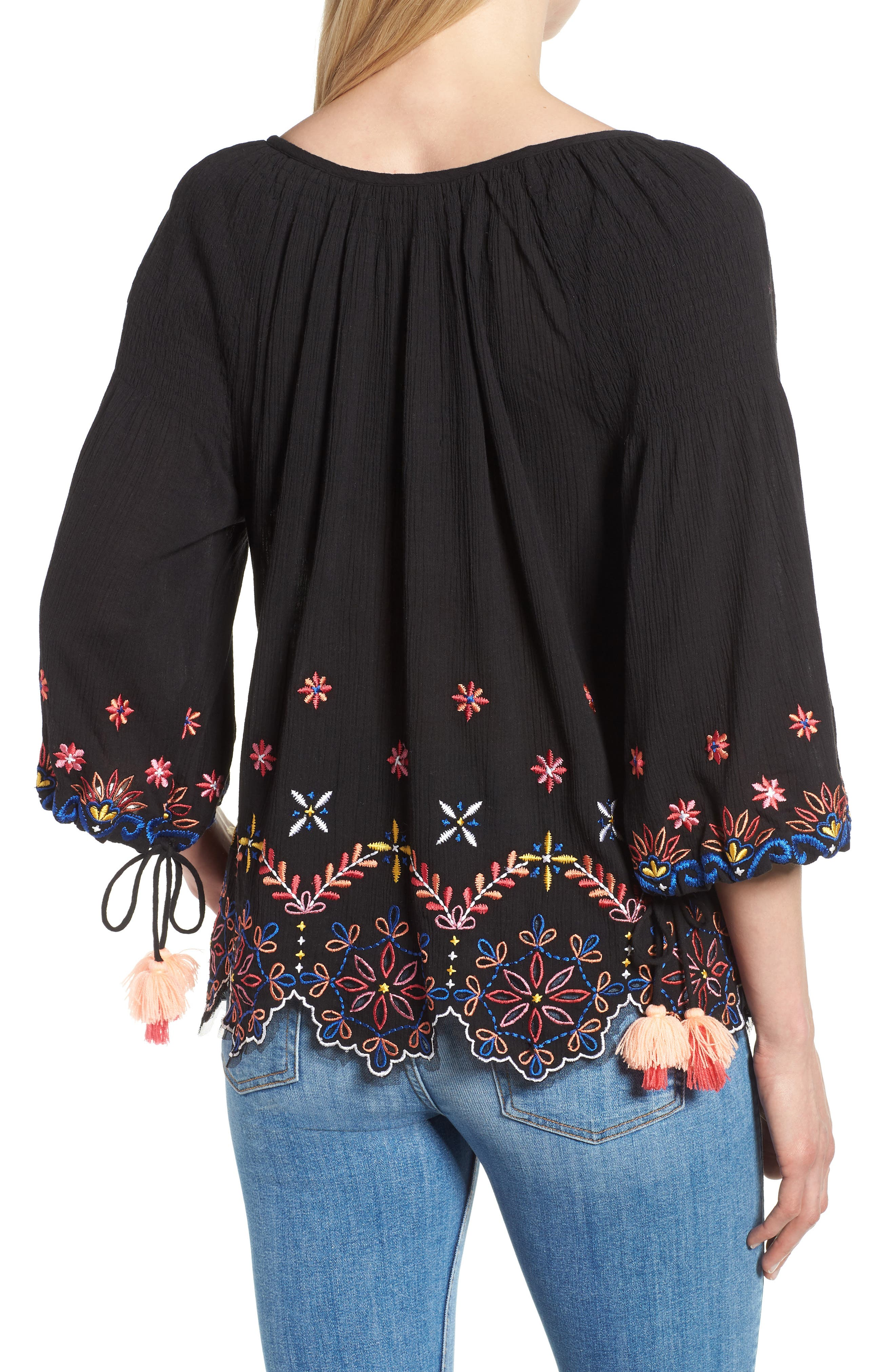 Hand Embroidered Cotton Peasant Blouse,                             Alternate thumbnail 2, color,                             BLACK