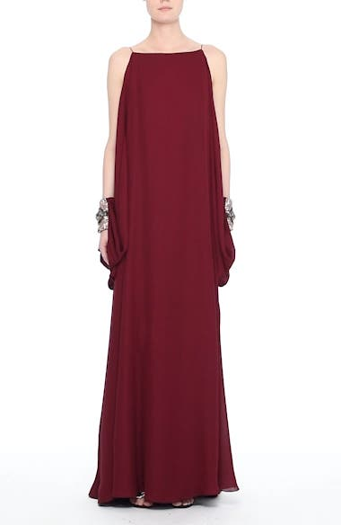 Badgley Mischka Couture Embellished Cuff Silk Caftan, video thumbnail