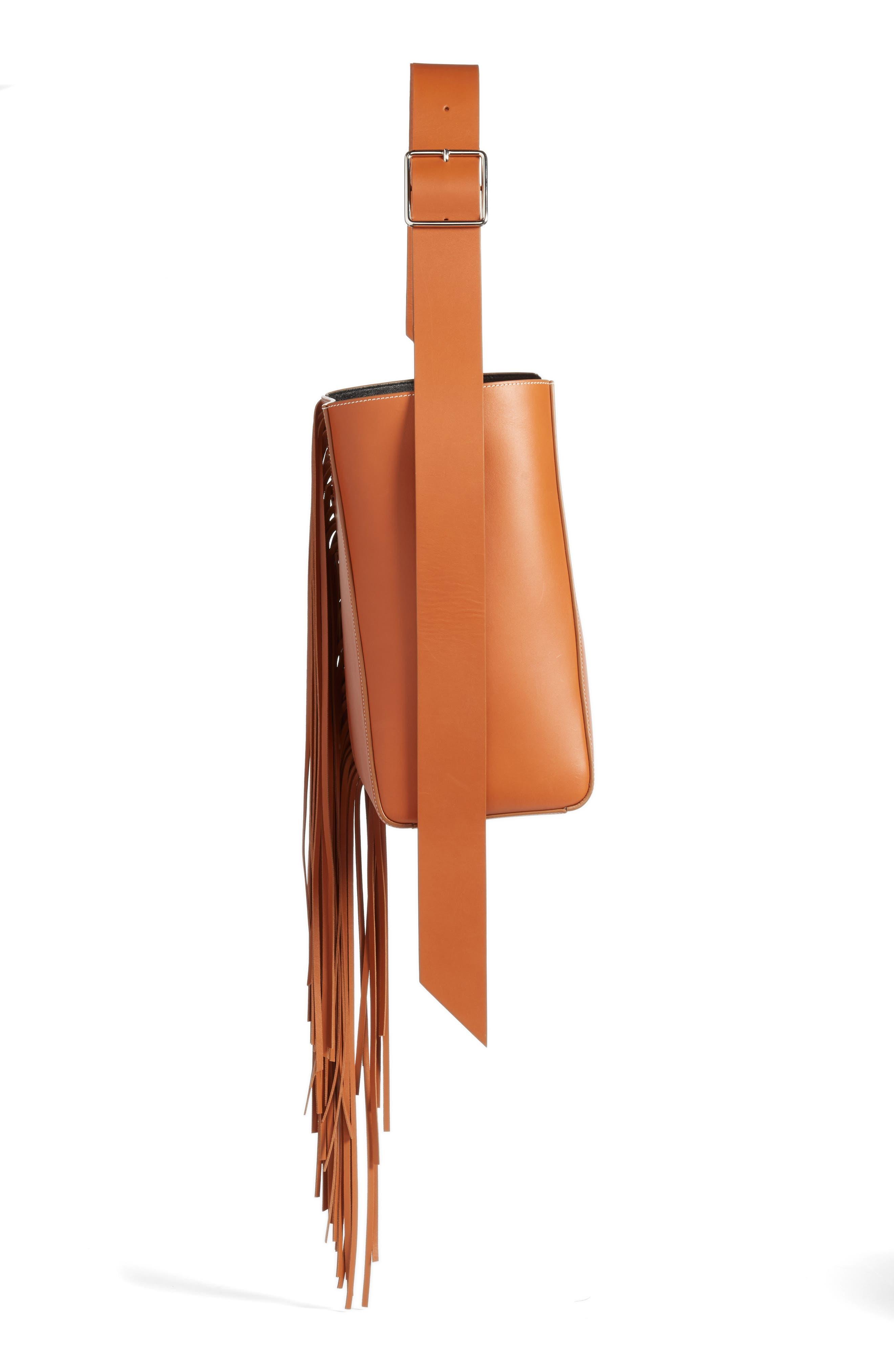 Fringe Leather Bucket Bag,                             Alternate thumbnail 4, color,                             COGNAC