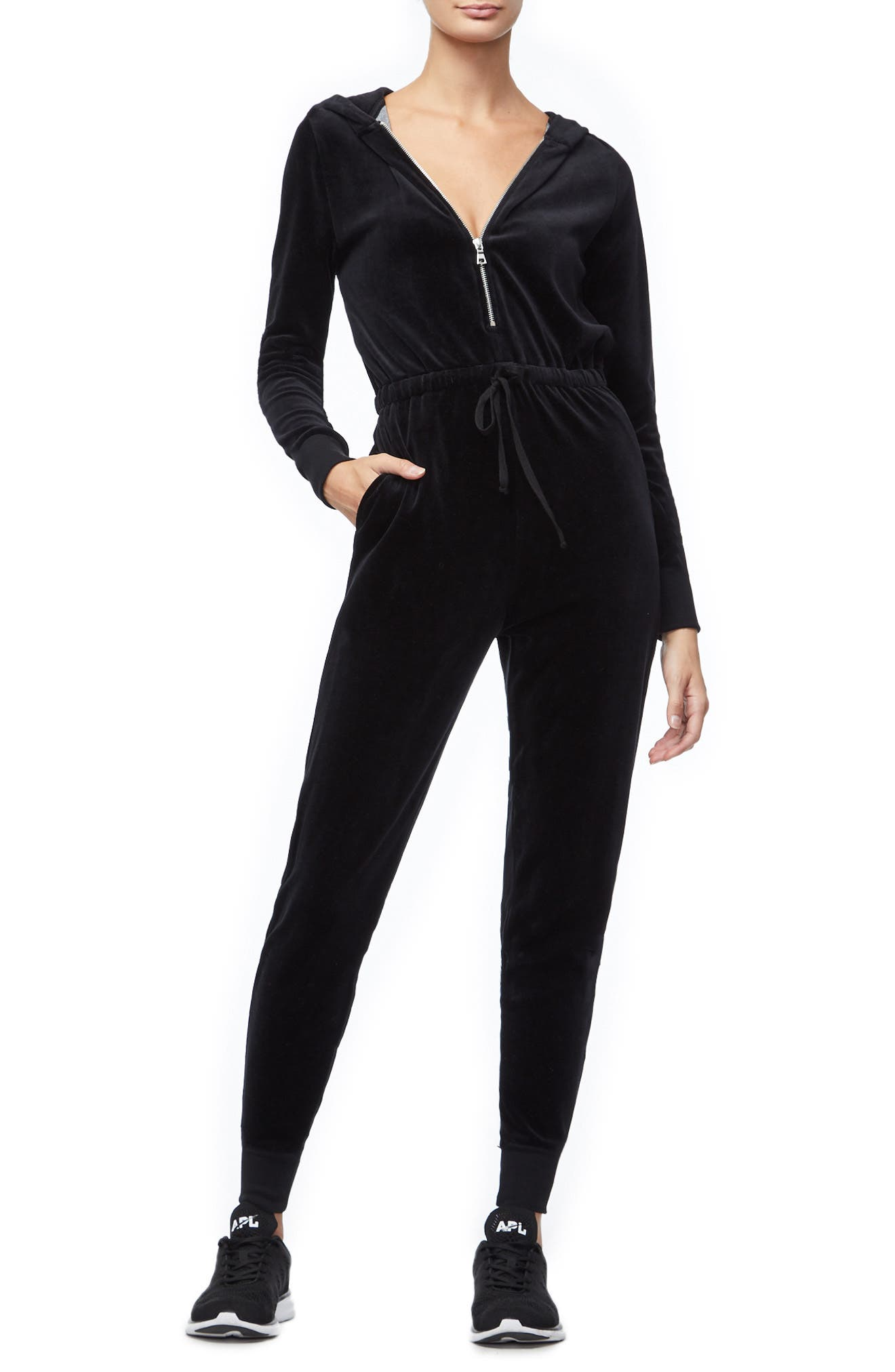 Hooded Velour Jumpsuit, Main, color, 001