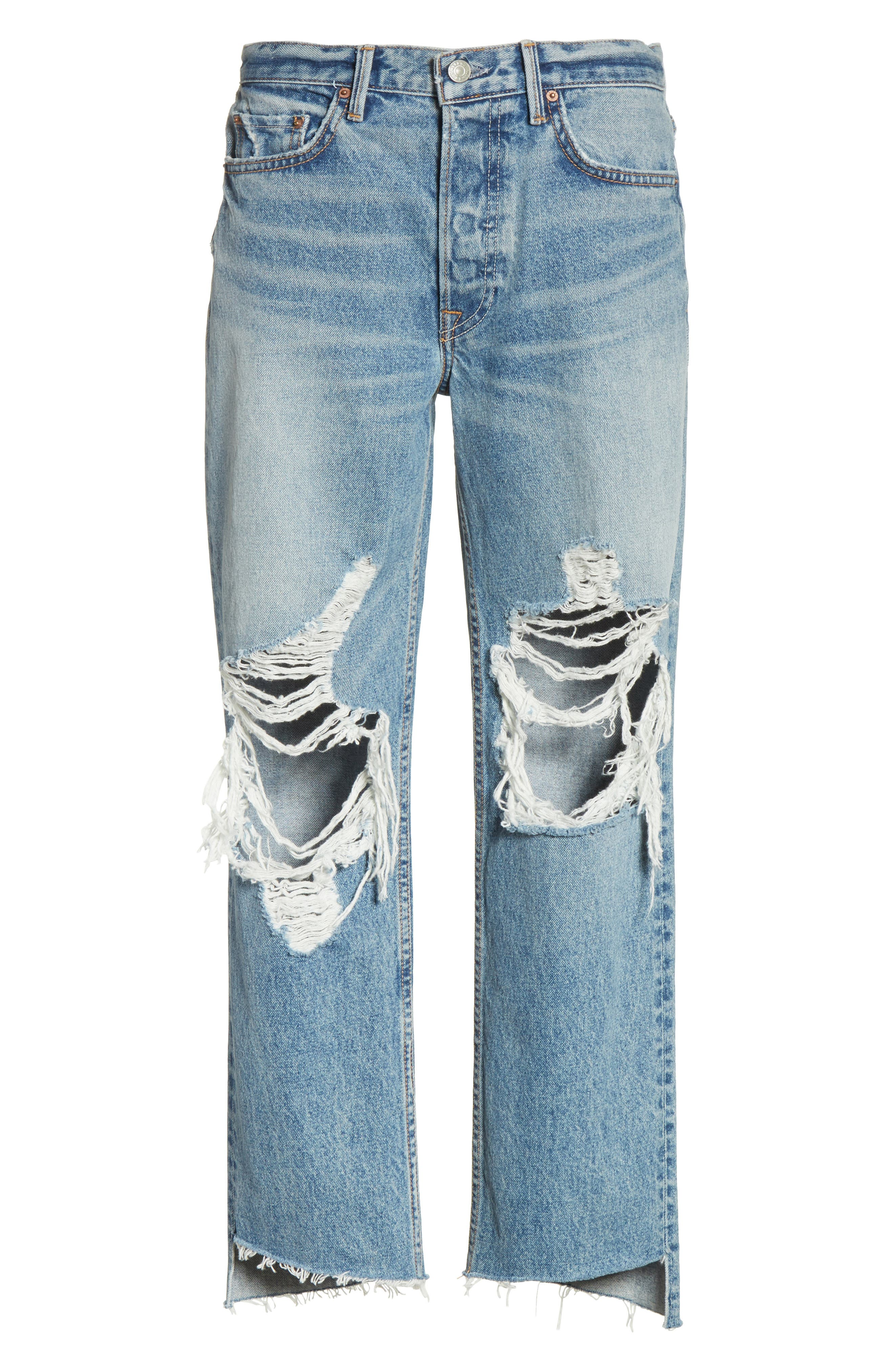 Helena Ripped Rigid High Waist Straight Jeans,                             Alternate thumbnail 7, color,                             487