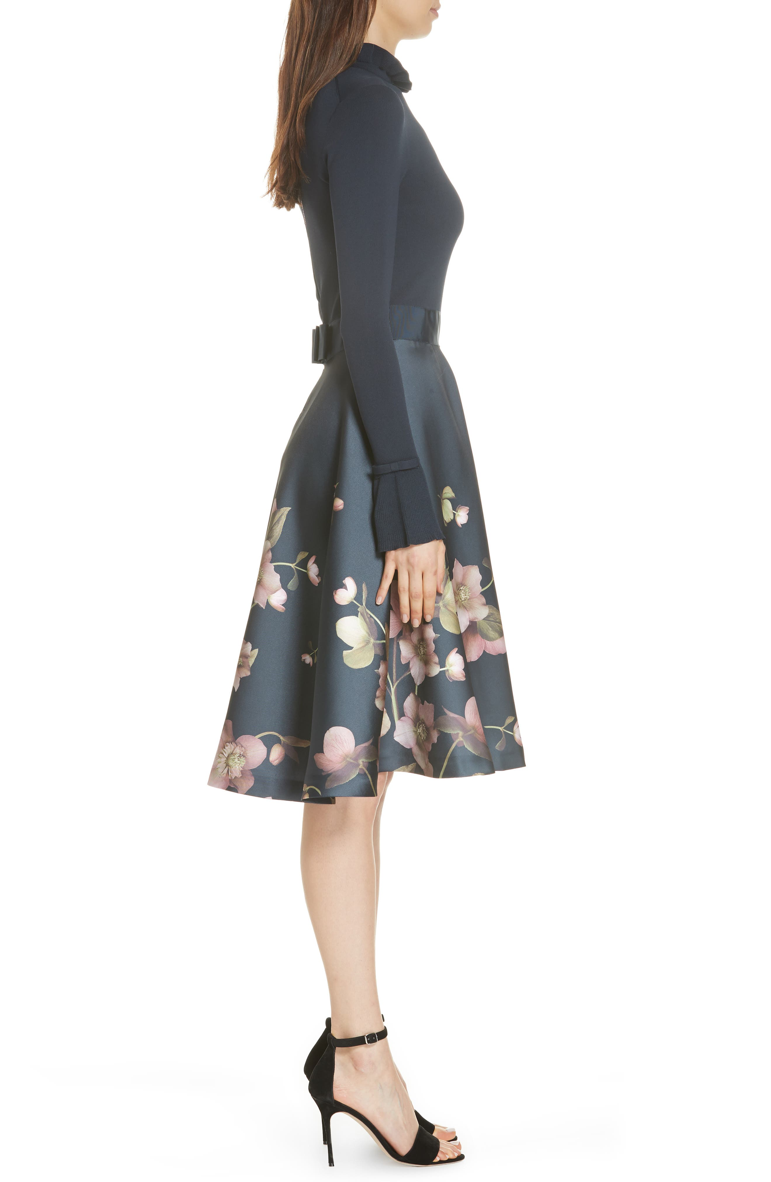 Seema Arboretum Dress,                             Alternate thumbnail 3, color,                             NAVY