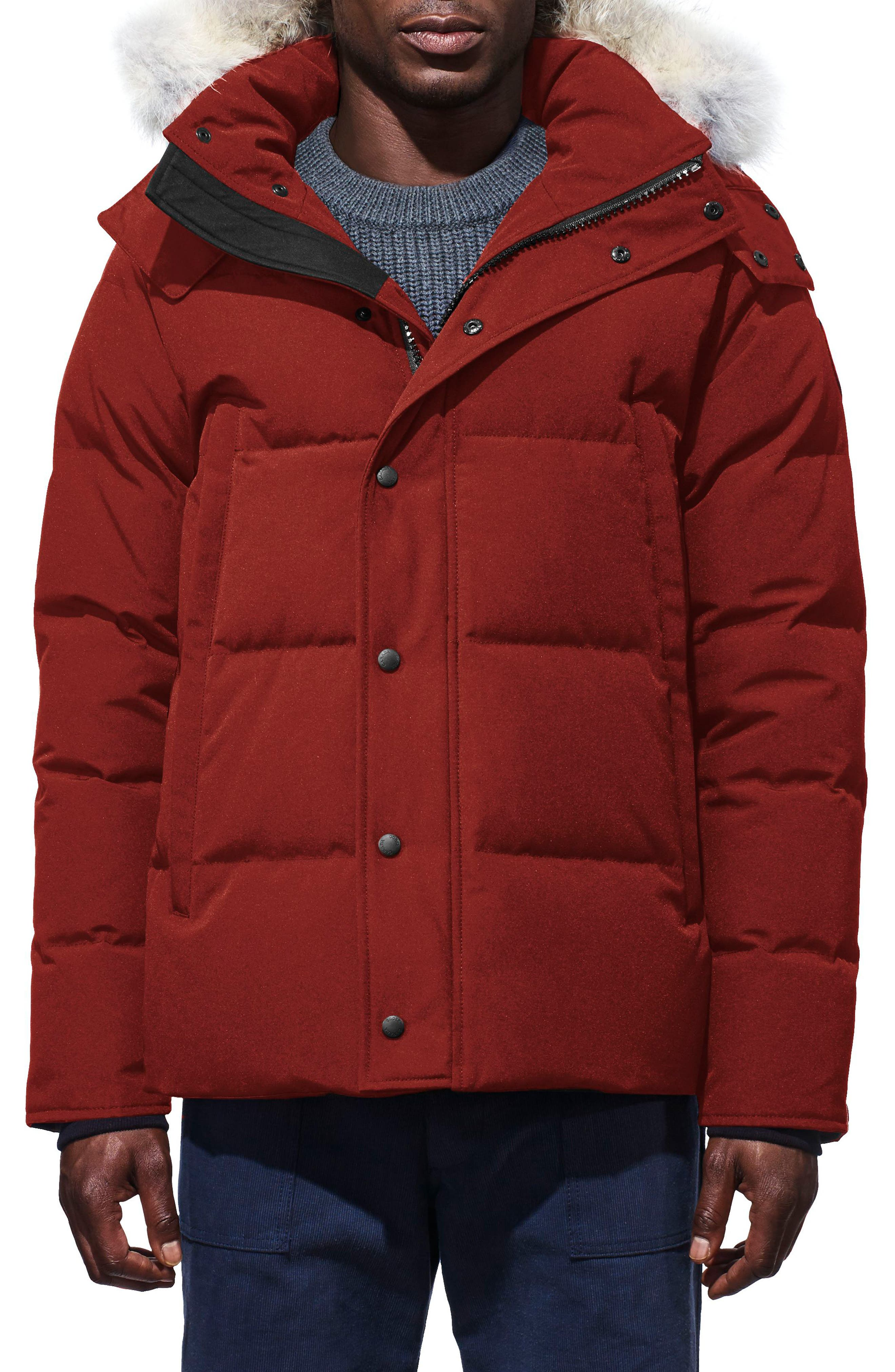 Canada Goose Wyndham Slim Fit Genuine Coyote Fur Trim Down Jacket, Red