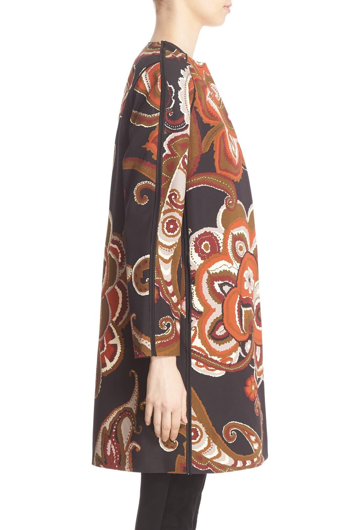 'Makeda' Paisley Print Faille Jacket,                             Alternate thumbnail 4, color,                             001