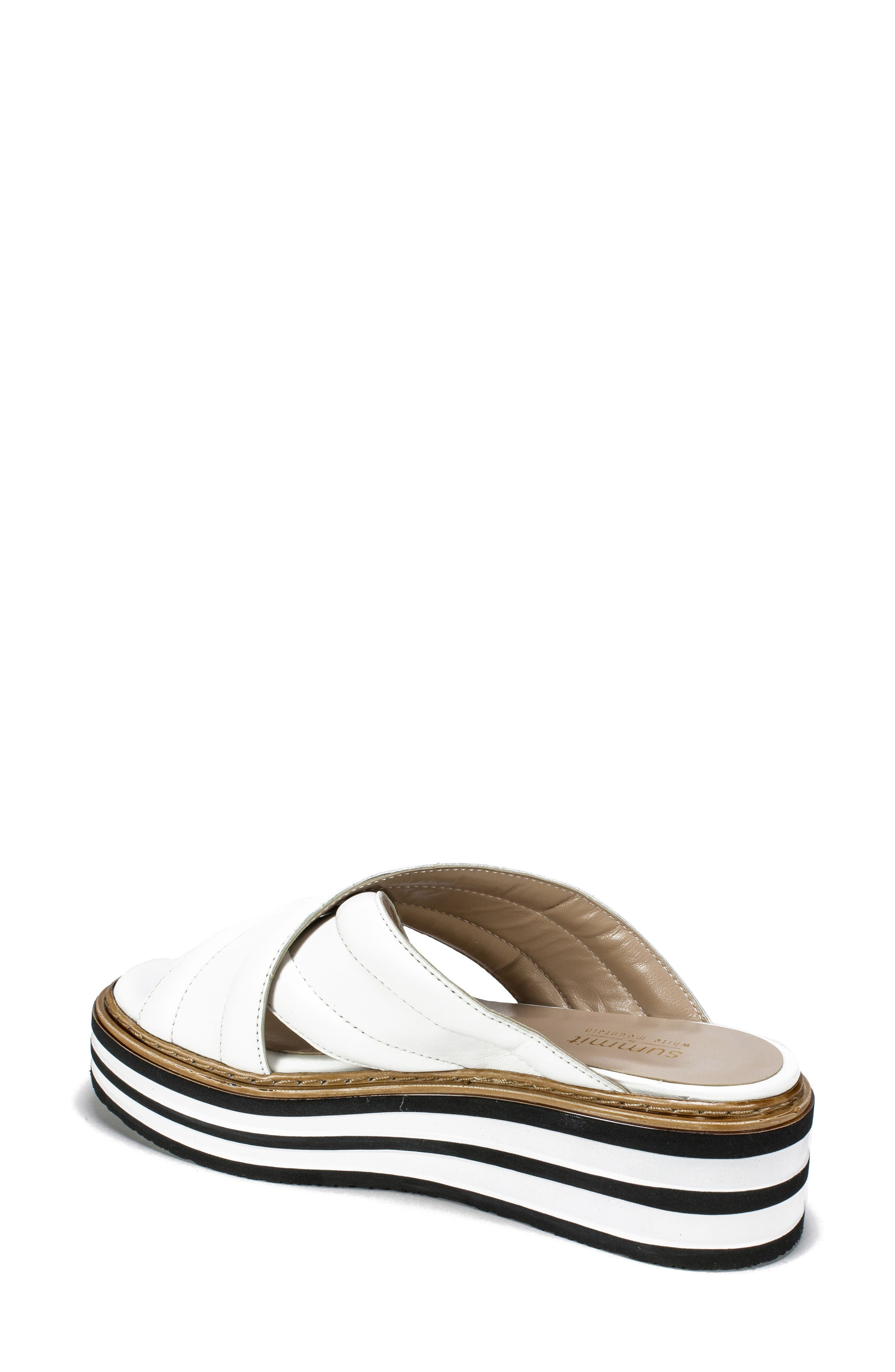SUMMIT,                             by White Mountain Lowell Platform Slide Sandal,                             Alternate thumbnail 2, color,                             WHITE LEATHER