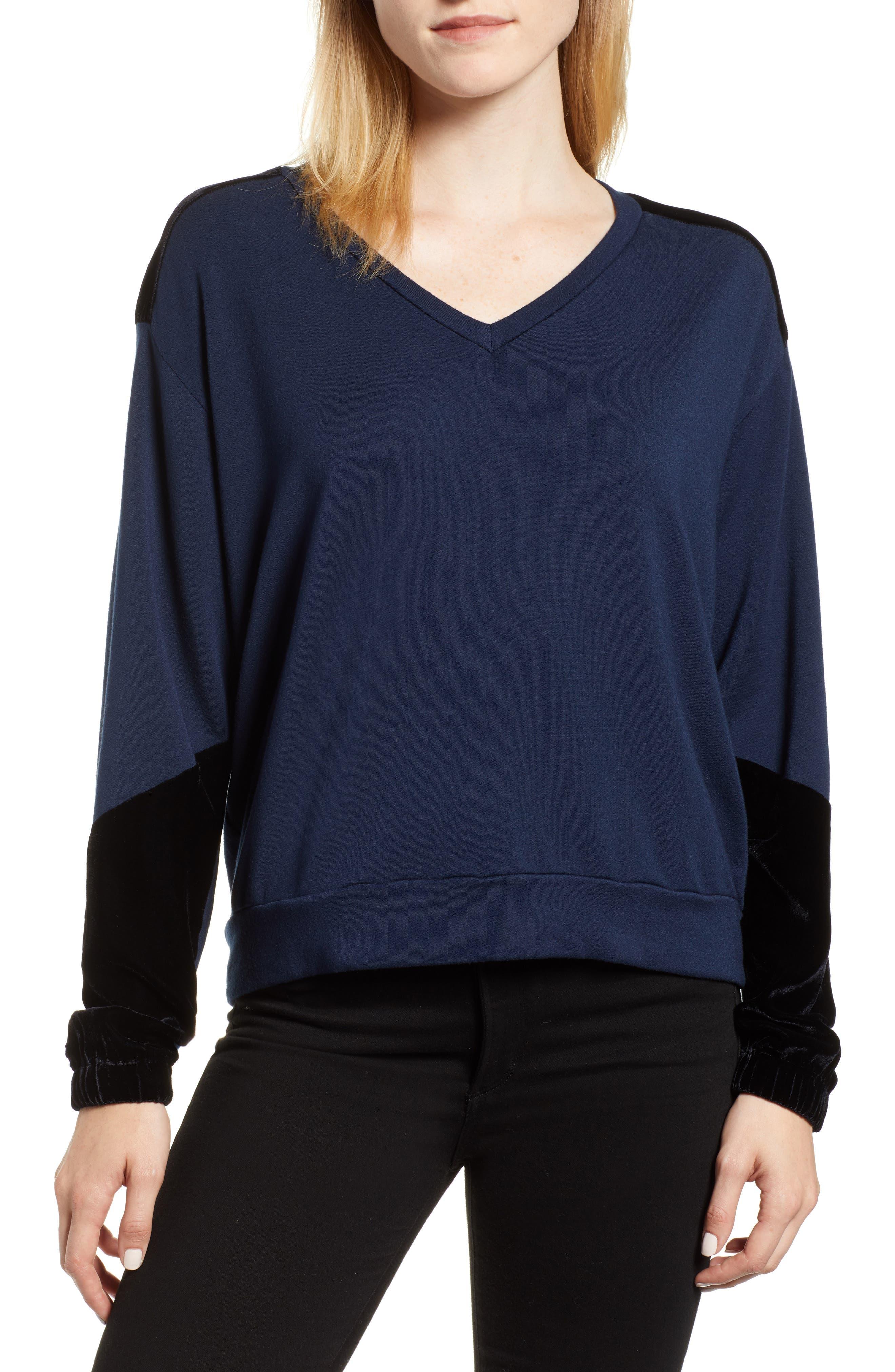 Velvet & Fleece Pullover,                         Main,                         color, INK