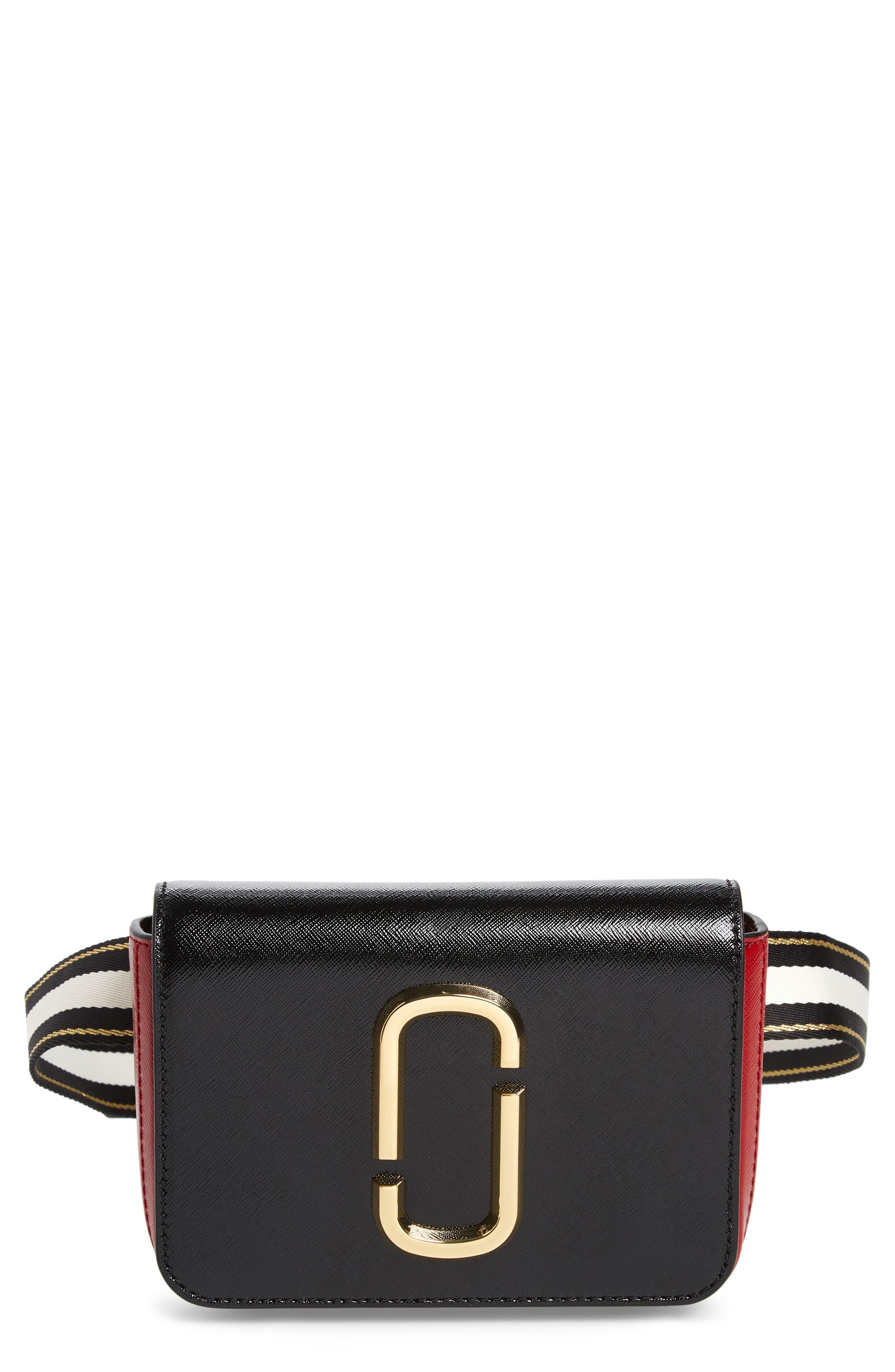 MARC JACOBS Hip Shot Convertible Crossbody Bag, Main, color, BLACK/ RED