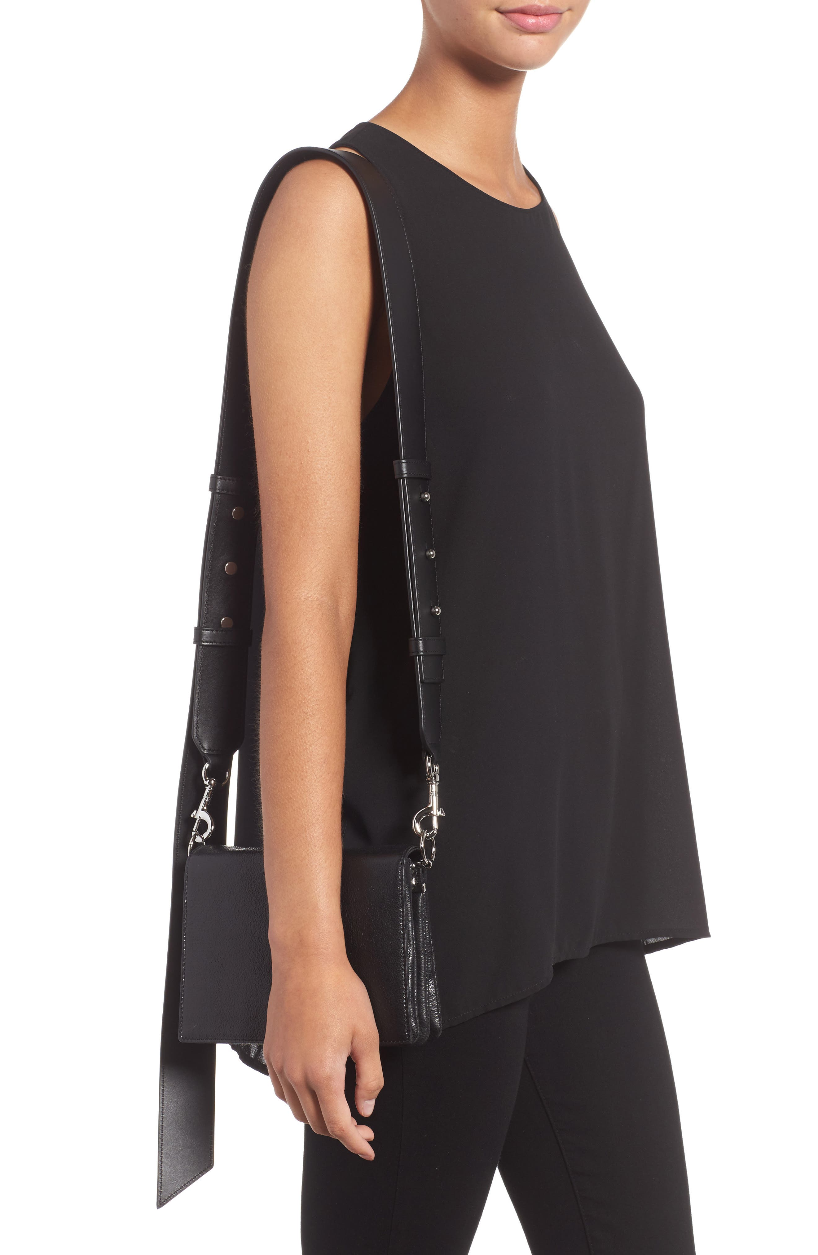 Zep Leather Shoulder Bag,                             Alternate thumbnail 2, color,                             001