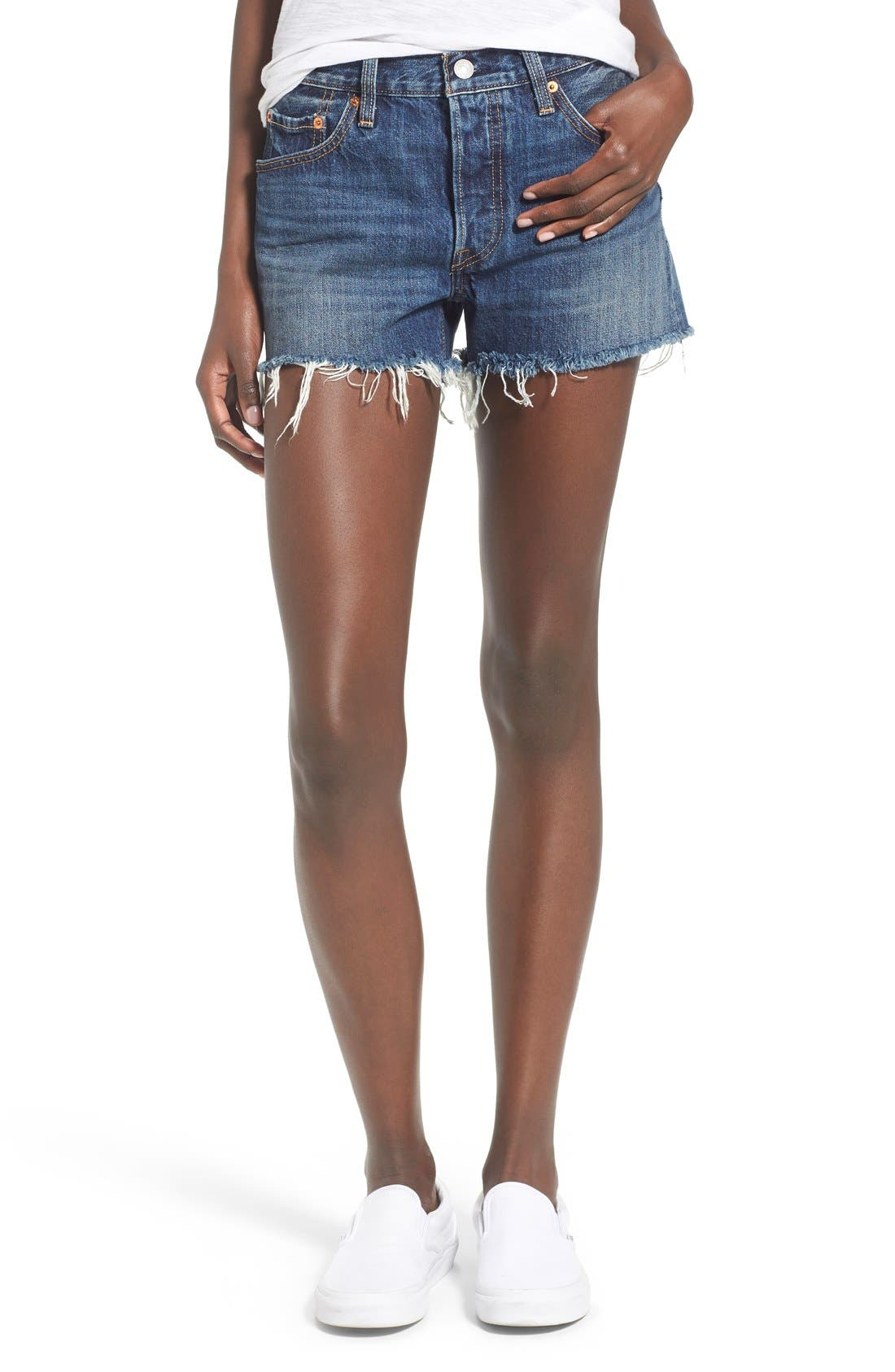 '501<sup>®</sup>' Cutoff Denim Shorts, Main, color, 420