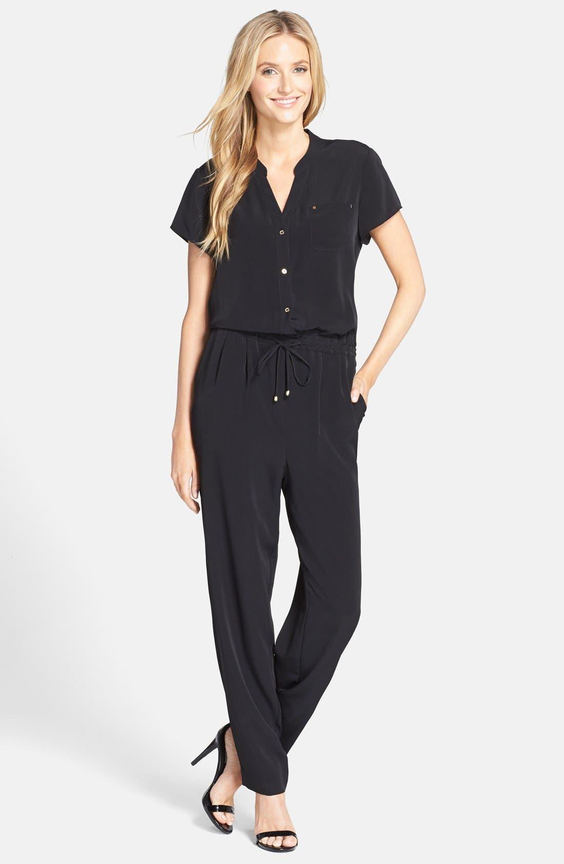 Short Sleeve Jumpsuit, Main, color, 001