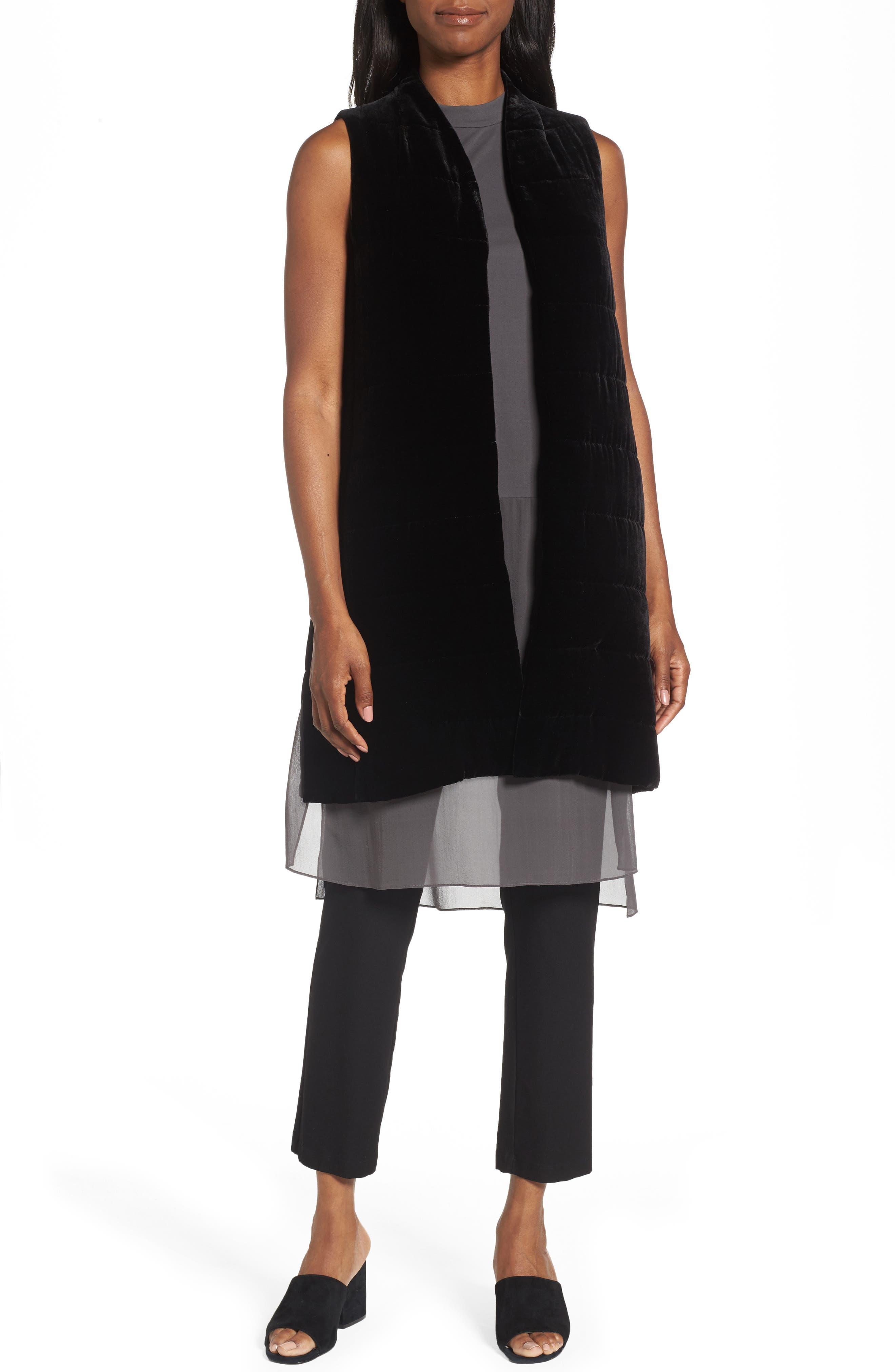 Long Quilted Velvet Vest,                         Main,                         color, 001