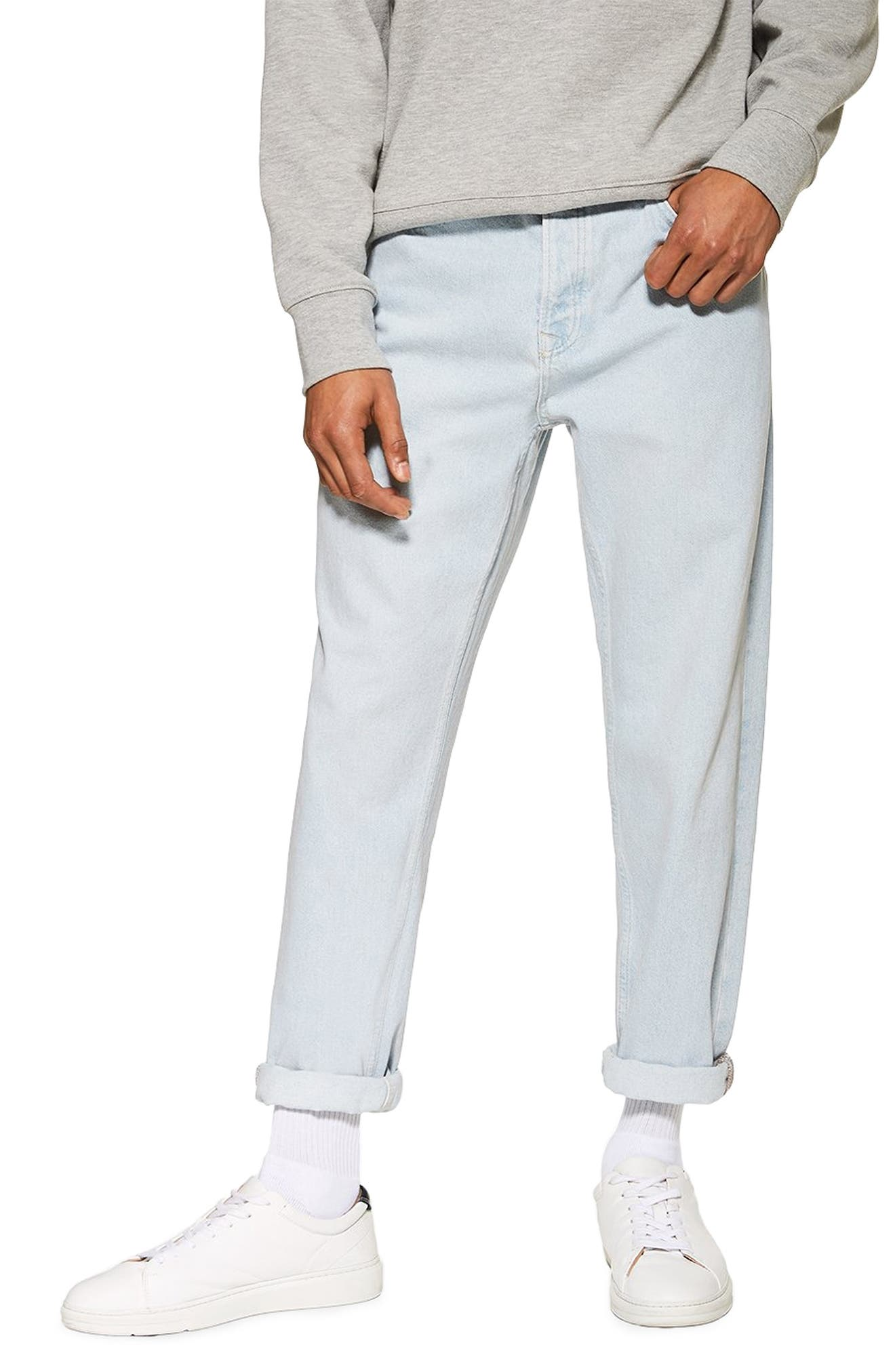 TOPMAN,                             Tapered Fit Jeans,                             Main thumbnail 1, color,                             BLUE