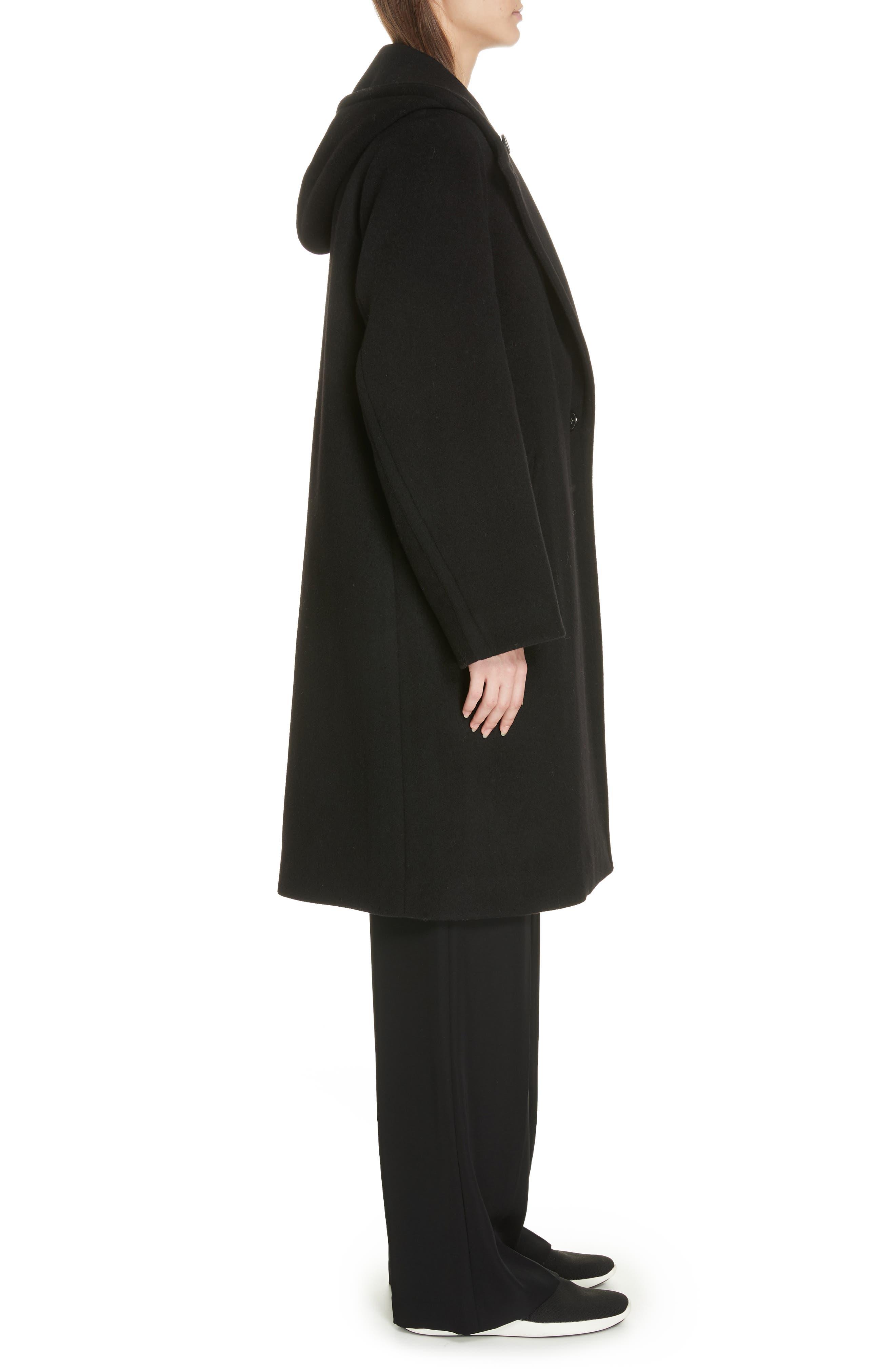 VINCE,                             Hooded Coat,                             Alternate thumbnail 3, color,                             BLACK