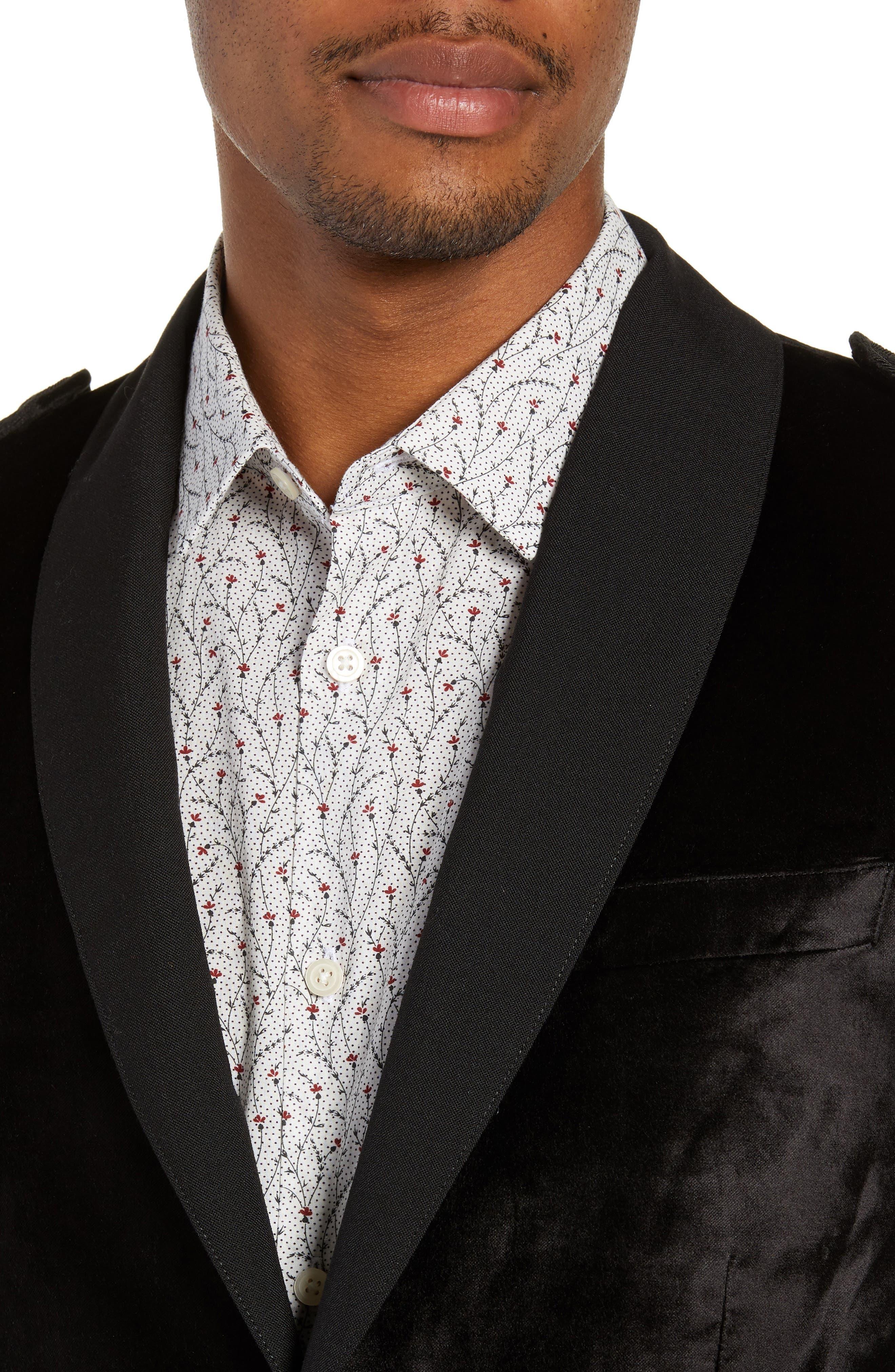 Shawl Collar Velvet Jacket,                             Alternate thumbnail 4, color,                             BLACK