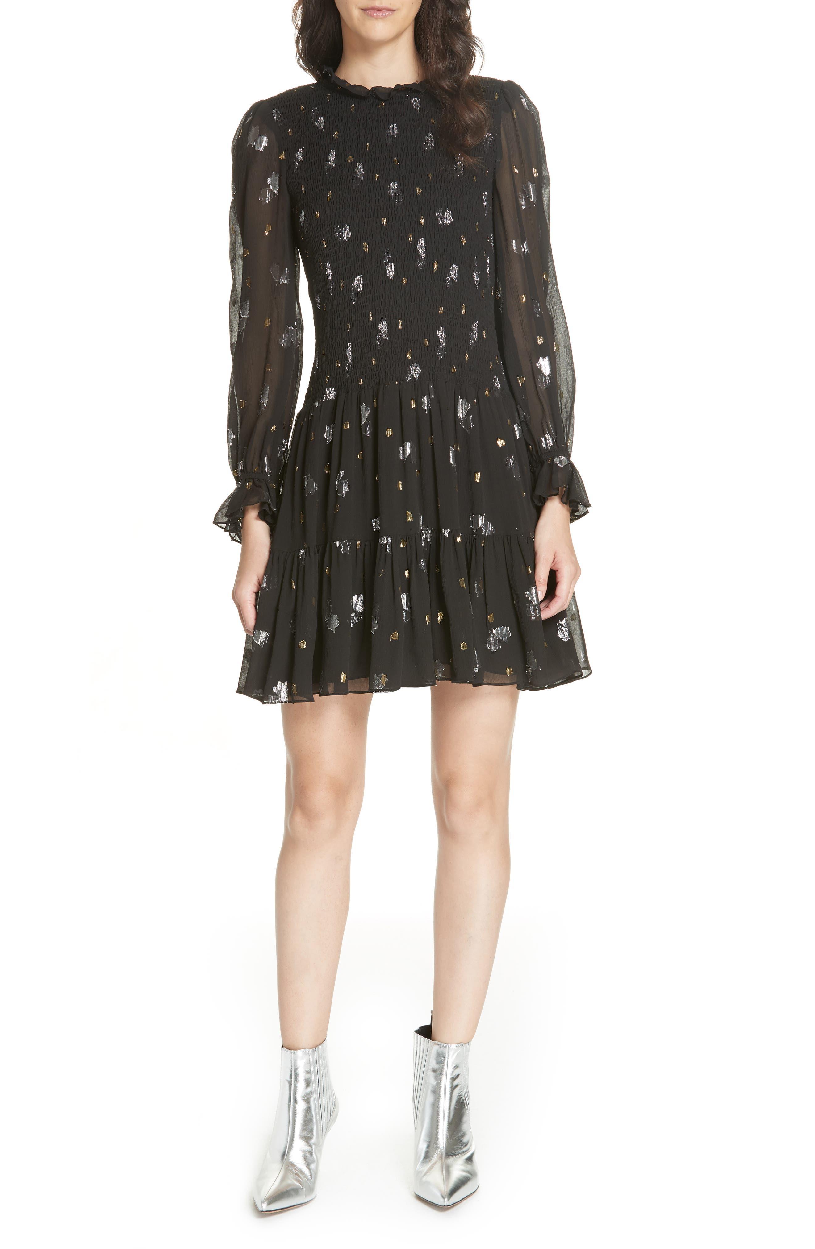 Scattered Metallic Tulip Silk Blend Dress in Black