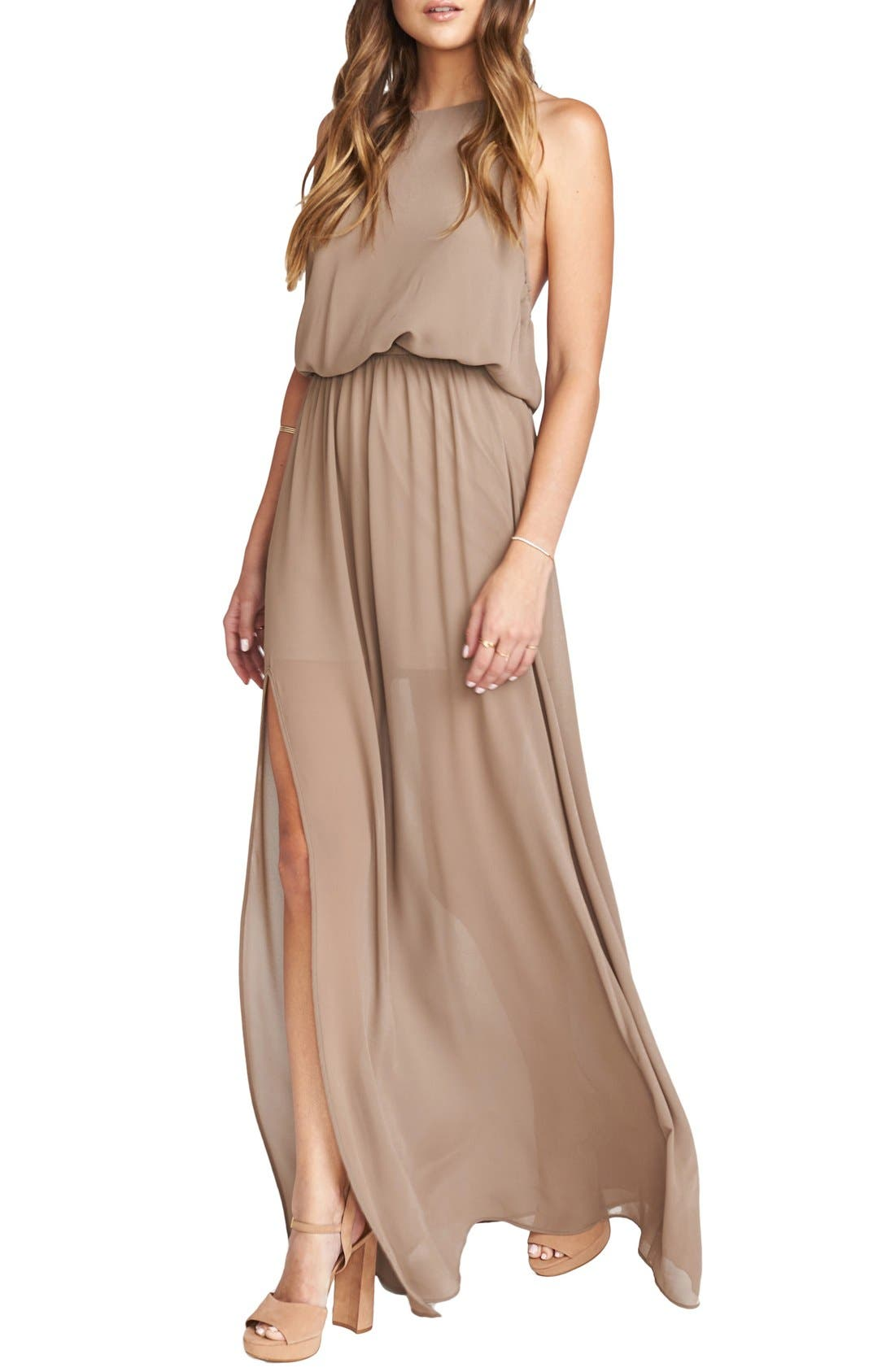 Heather Chiffon Halter Gown,                             Alternate thumbnail 38, color,