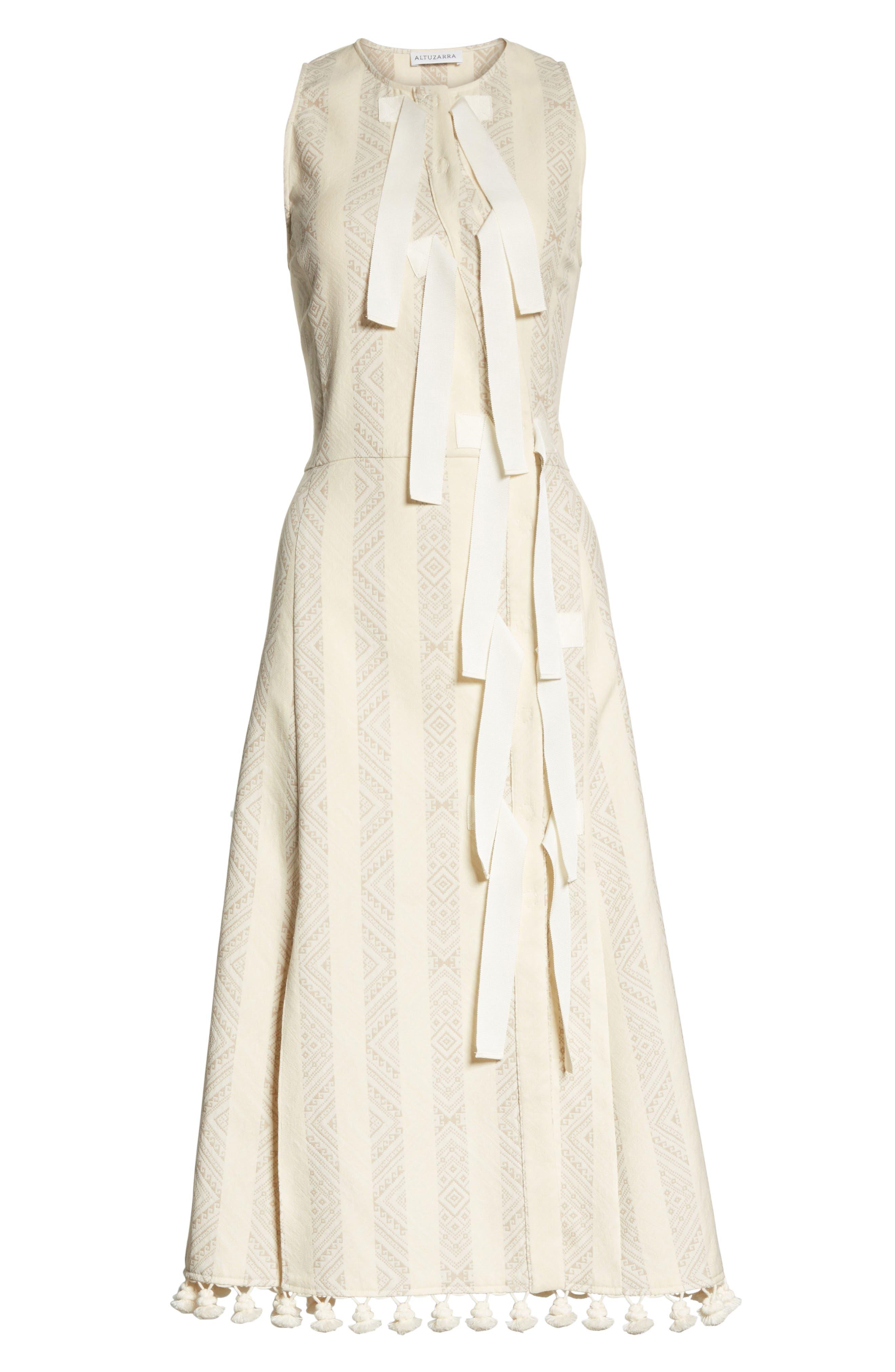Grosgrain Tie Stripe Dress,                             Alternate thumbnail 6, color,                             106