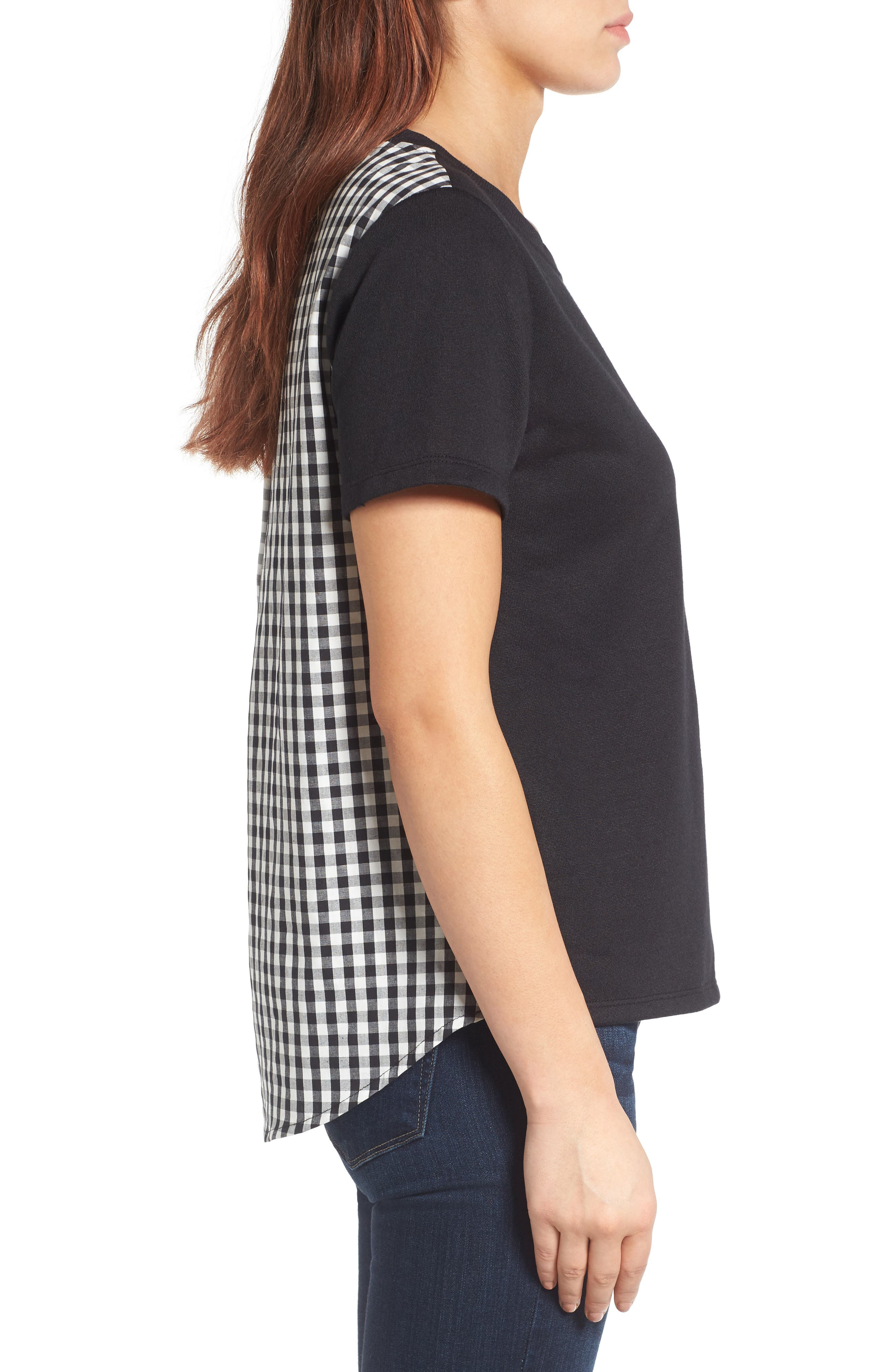 Woven Back French Terry Sweatshirt,                             Alternate thumbnail 3, color,                             001