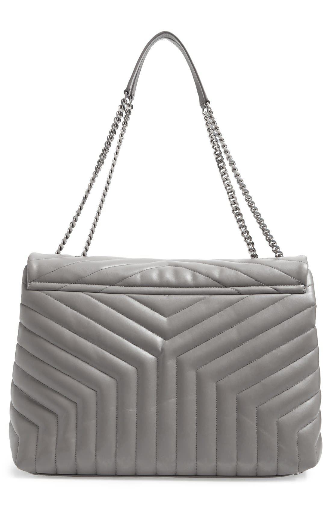 Monogram Quilted Leather Slouchy Shoulder Bag,                             Alternate thumbnail 3, color,                             OYSTER