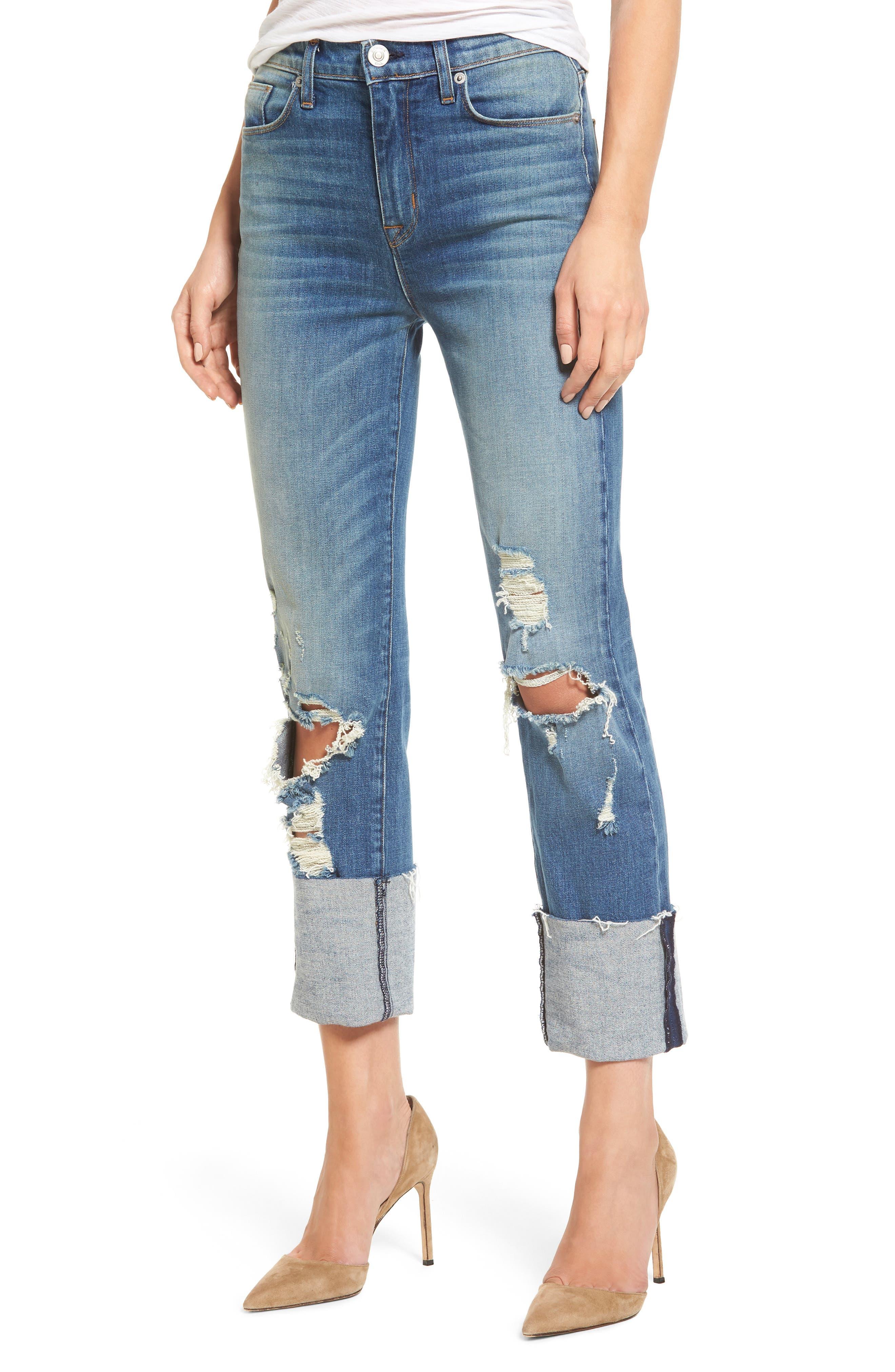 Zoeey High Waist Crop Straight Leg Jeans,                             Main thumbnail 2, color,