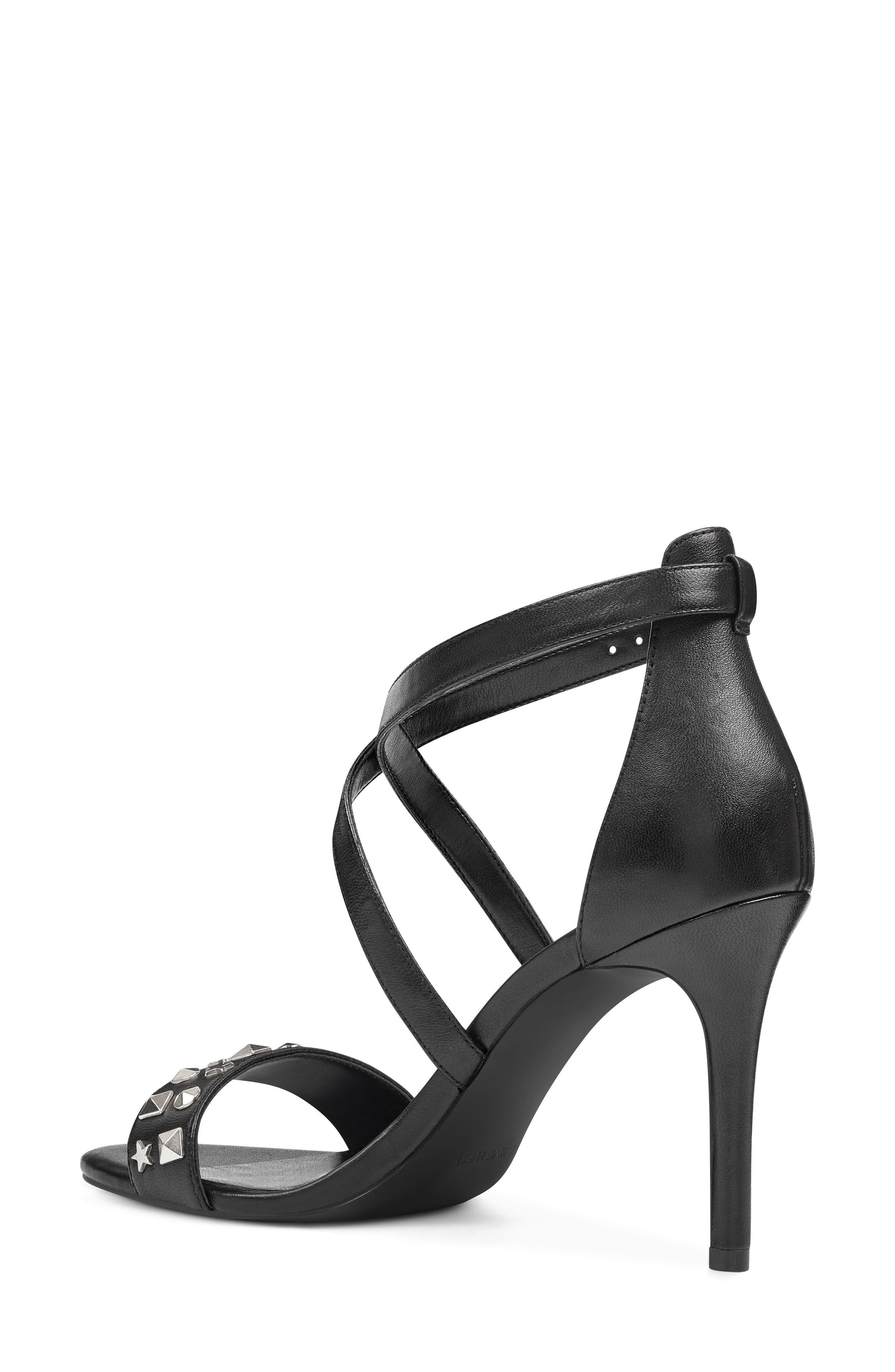 Maziany Studded Sandal,                             Alternate thumbnail 2, color,                             BLACK LEATHER