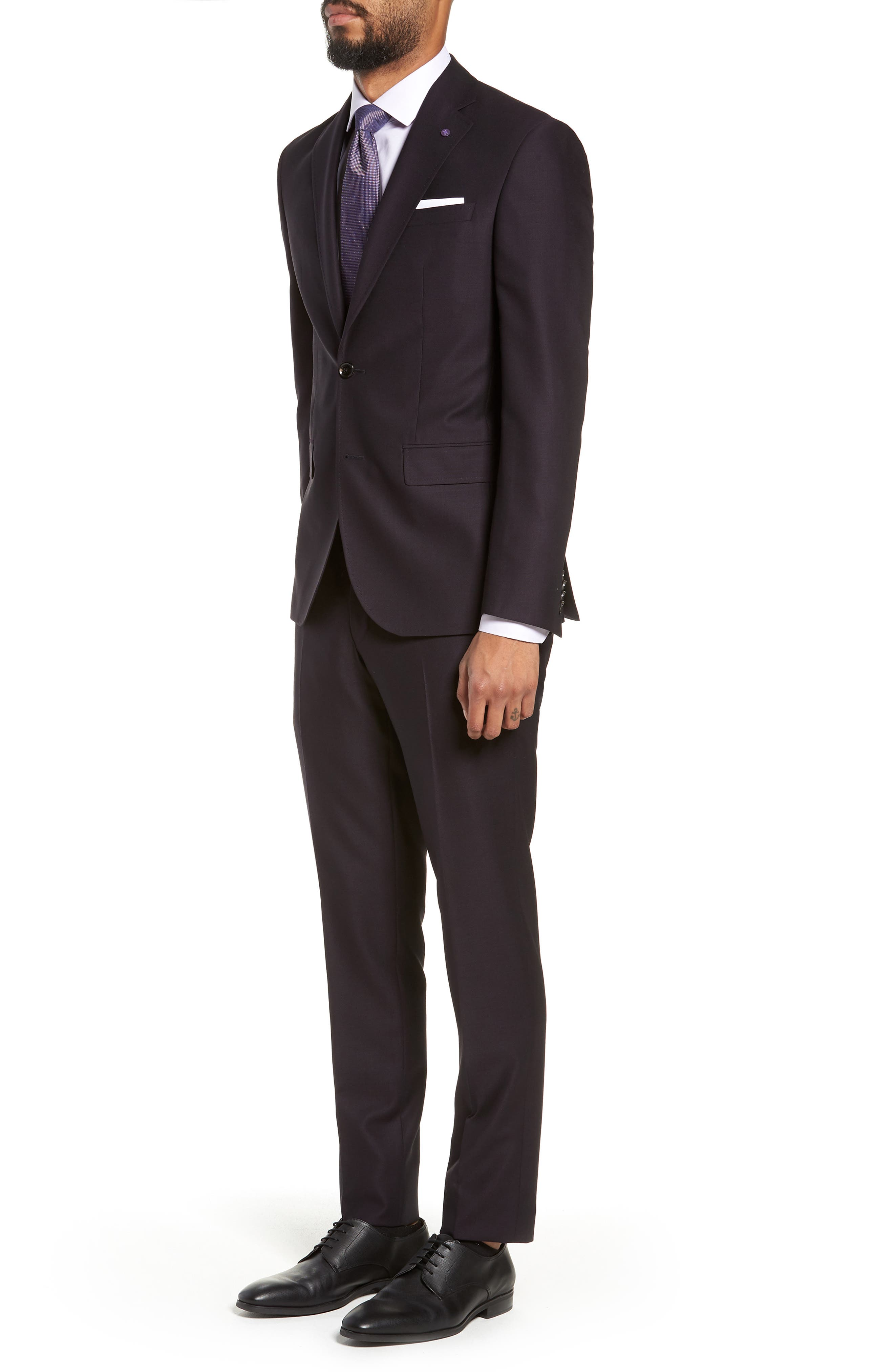 Roger Extra Trim Fit Solid Wool Suit,                             Alternate thumbnail 3, color,                             DEEP EGGPLANT