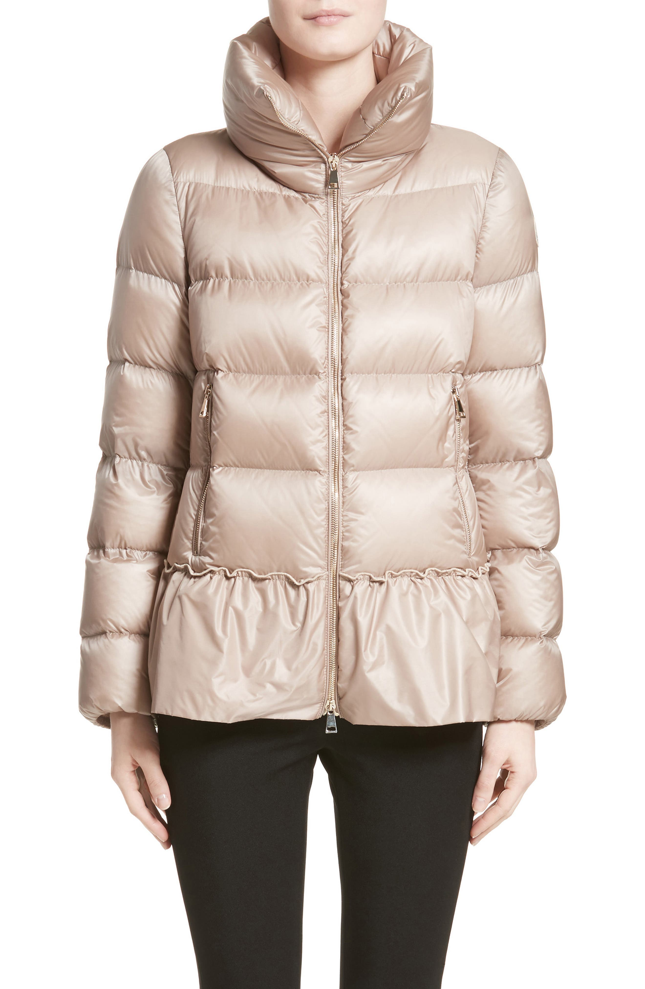 Anet Peplum Down Puffer Jacket,                             Main thumbnail 1, color,                             NATURAL