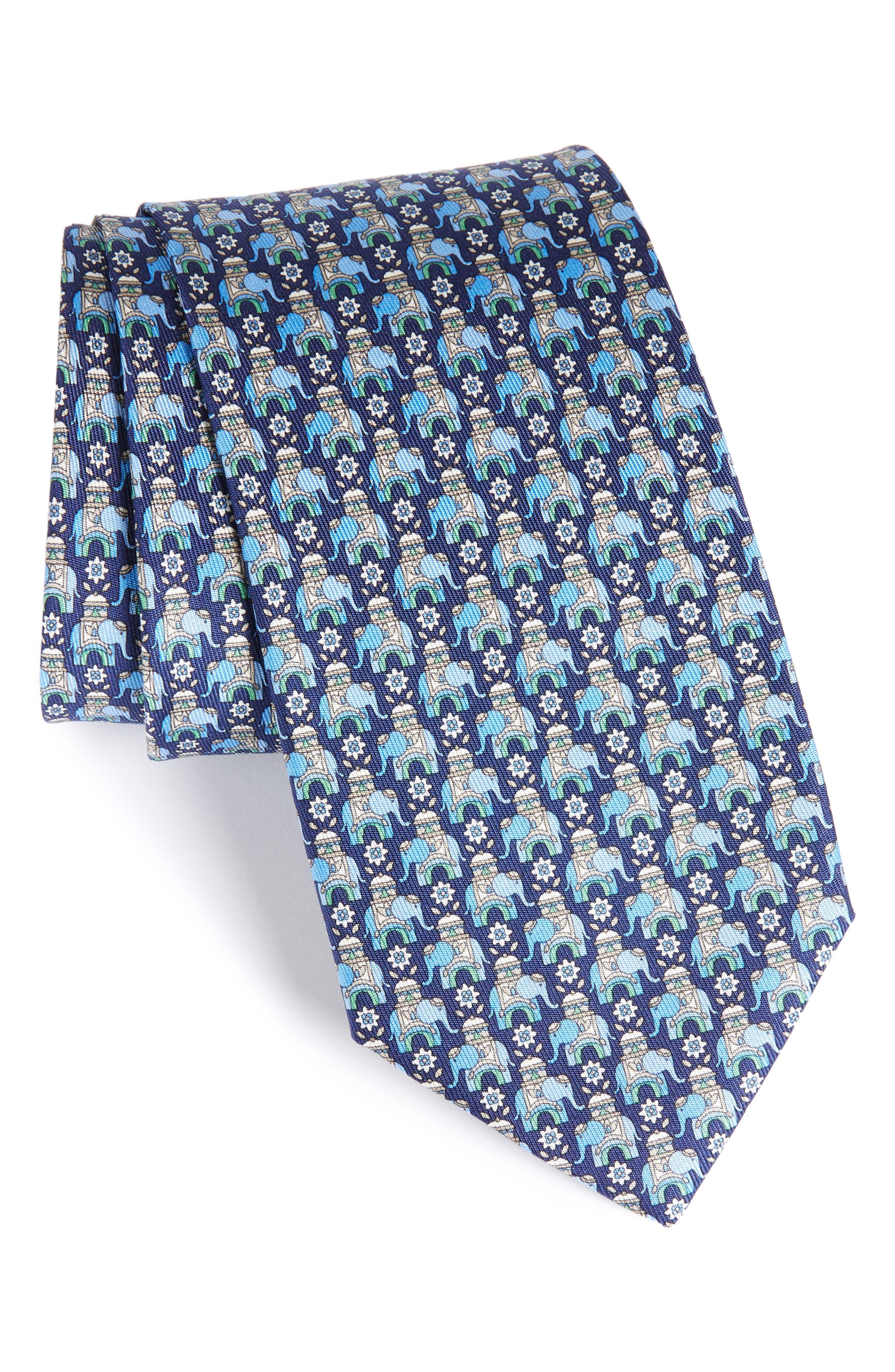 Elephant Print Silk Tie,                         Main,                         color, 492