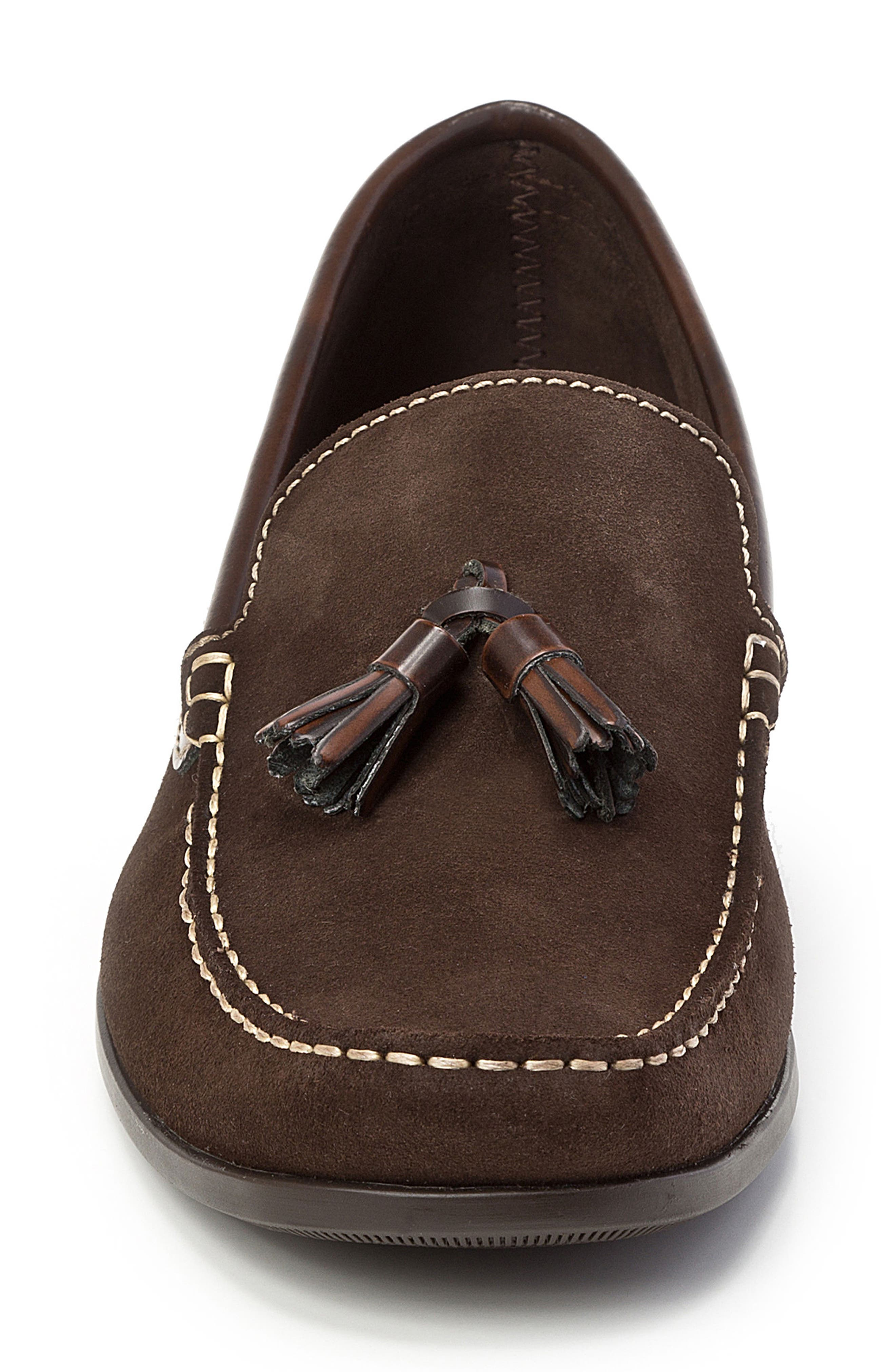 SANDRO MOSCOLONI,                             Hojas Tassel Loafer,                             Alternate thumbnail 4, color,                             BROWN LEATHER