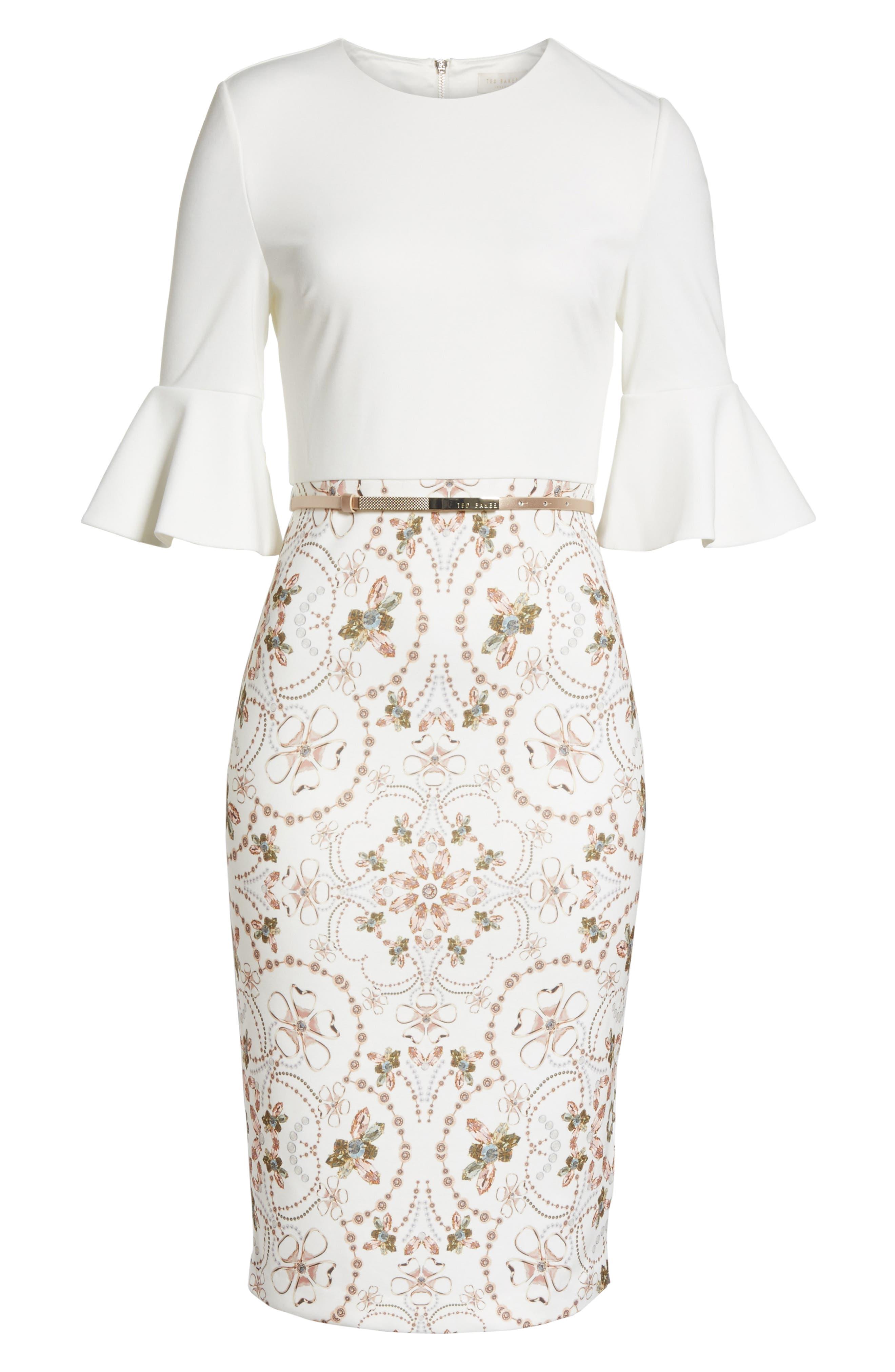 Majestic Contrast Sheath Dress,                             Alternate thumbnail 6, color,                             115