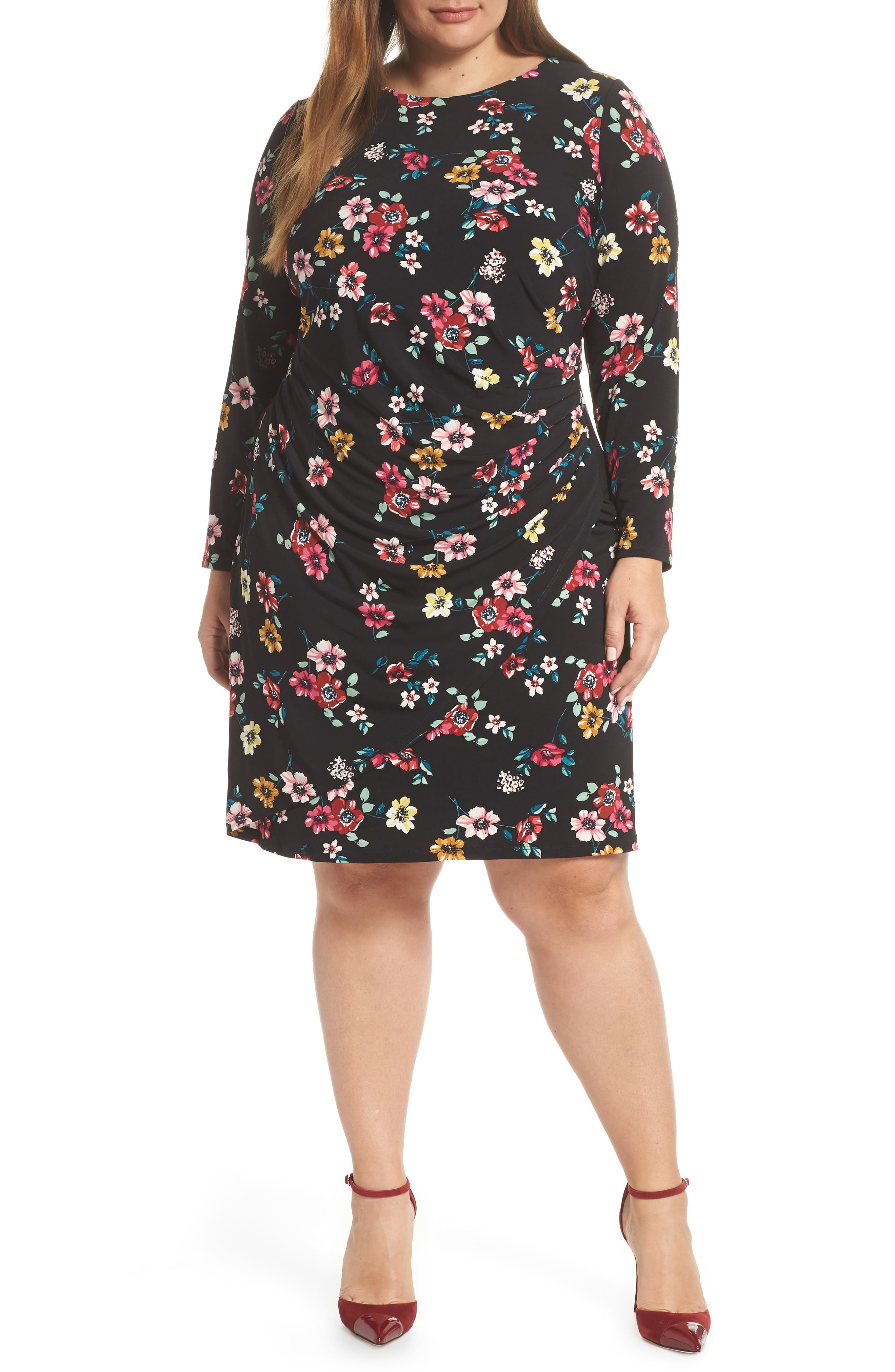 Plus Size Eliza J Long Sleeve Floral Print Dress, Black