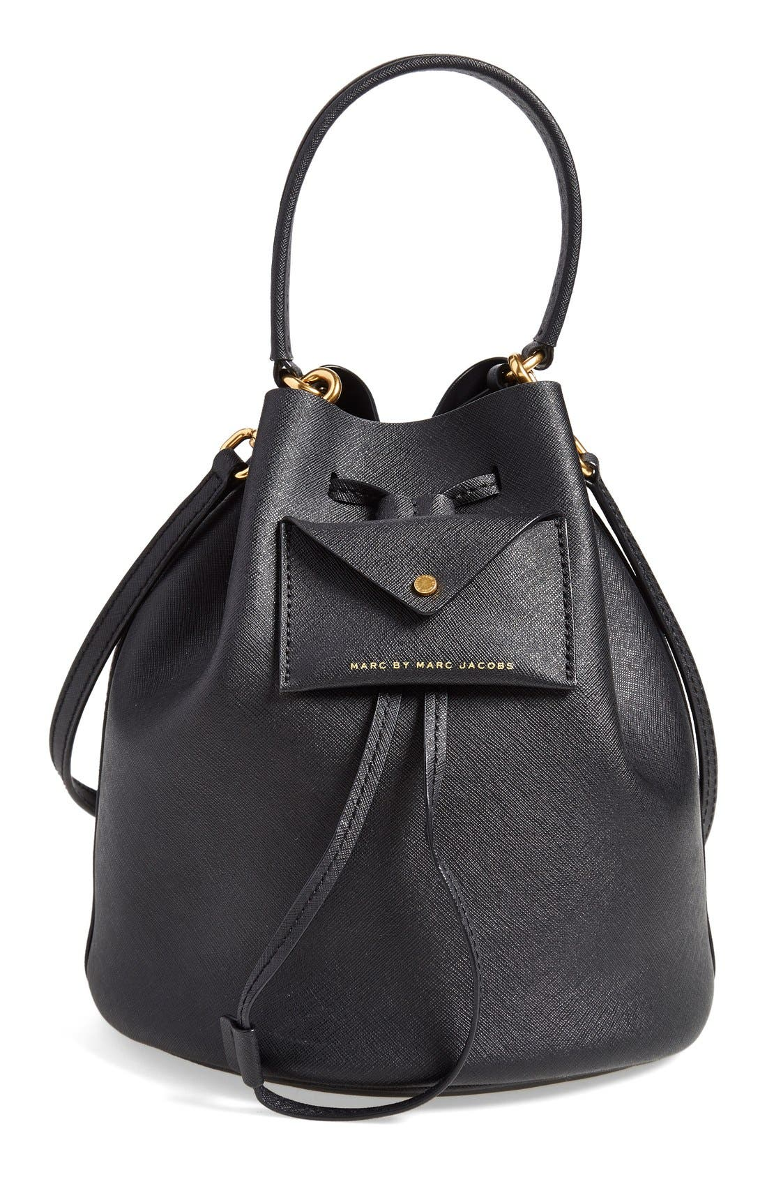 MARC BY MARC JACOBS 'Metropoli' Leather Bucket Bag,                             Main thumbnail 1, color,                             001