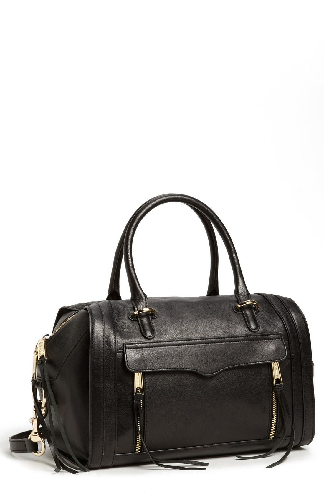 'Darcy' Leather Satchel, Main, color, 001